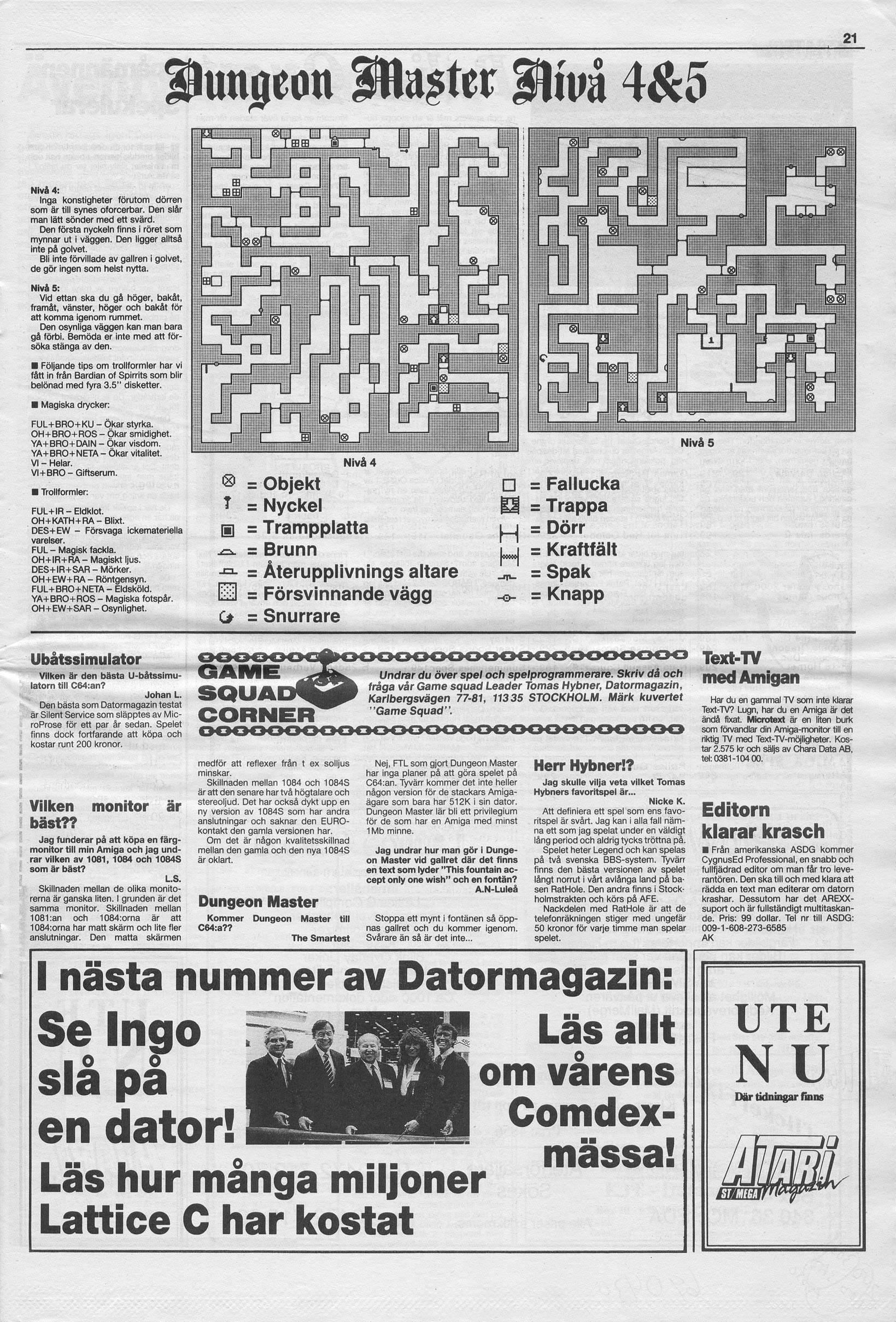 Dungeon Master Hints published in Swedish magazine 'Datormagazin', Vol. 1989 No. 6, April 1989, Page 21