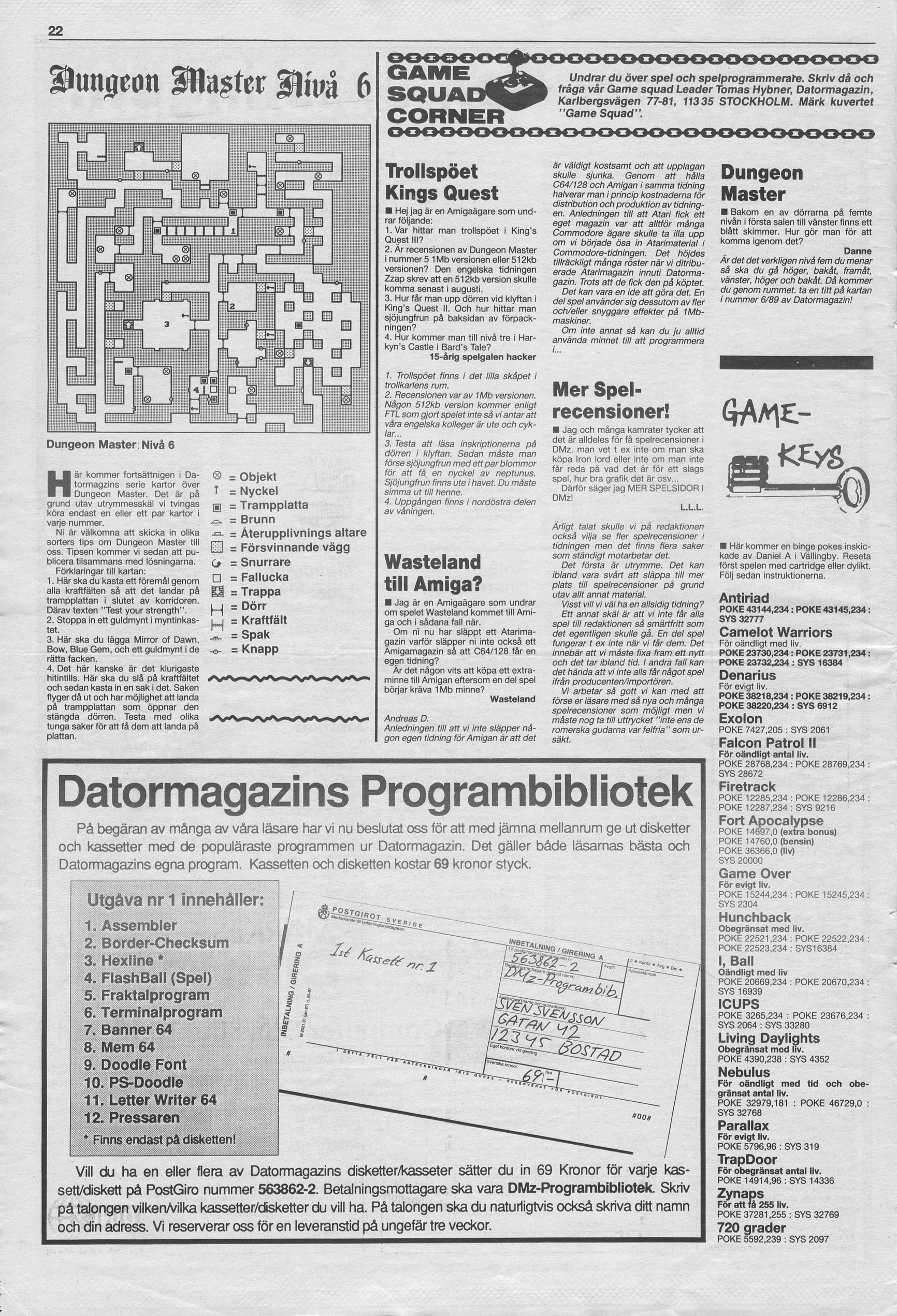 Dungeon Master Hints published in Swedish magazine 'Datormagazin', Vol. 1989 No. 7, May 1989, Page 22