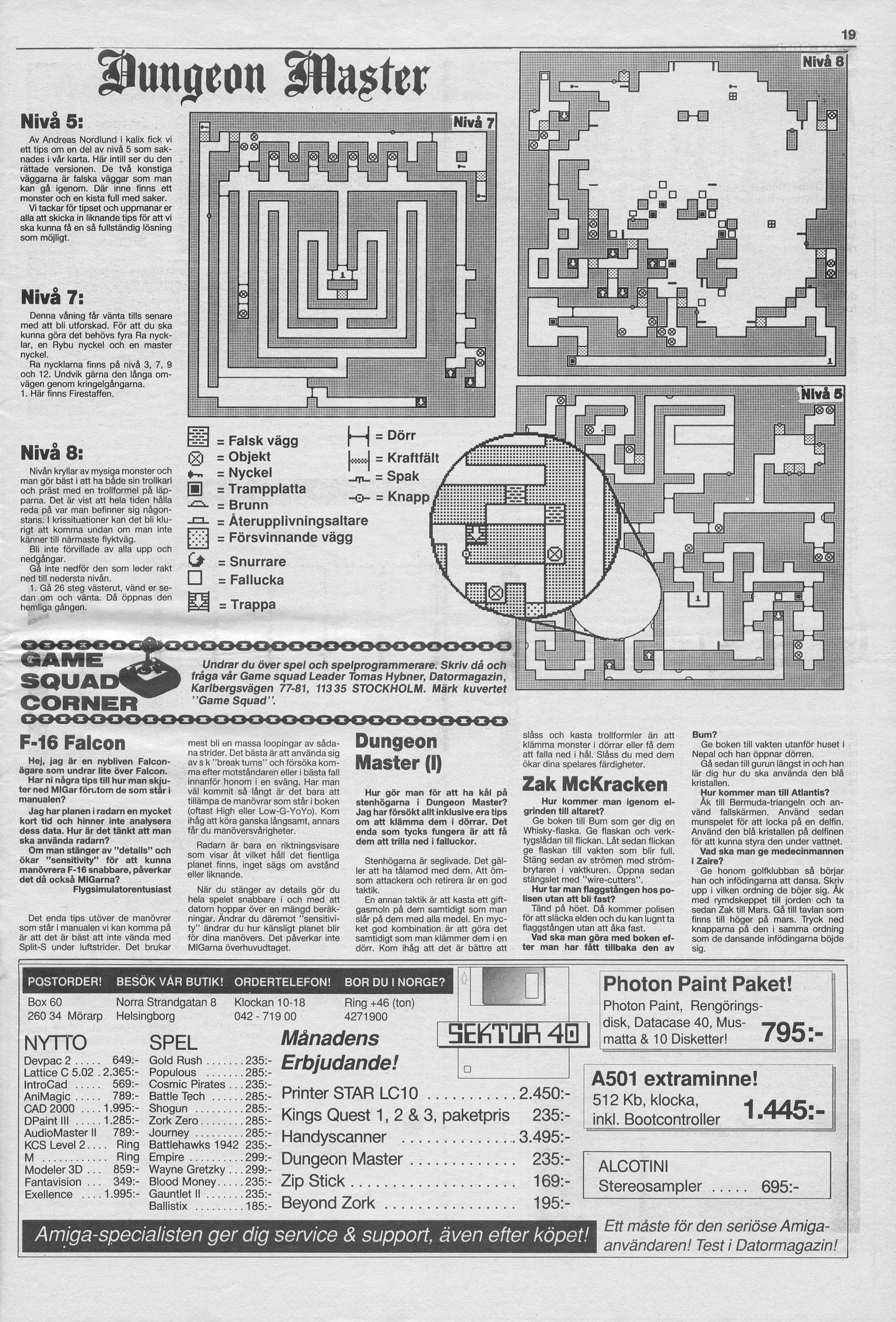 Dungeon Master Hints published in Swedish magazine 'Datormagazin', Vol. 1989 No. 8, June 1989, Page 19