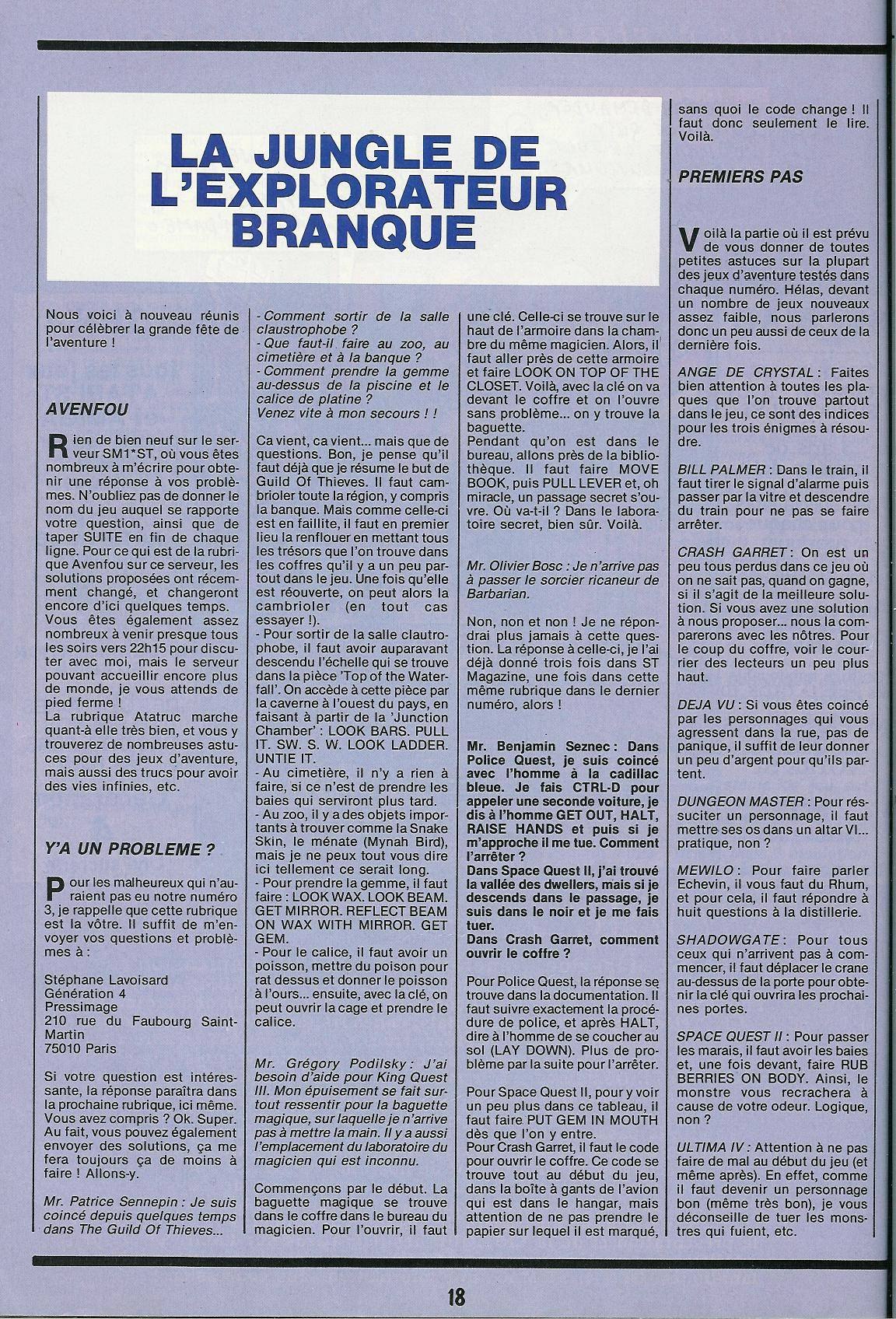 Dungeon Master Hints published in French magazine 'Gen4', Issue #4, May-August 1988, Page 18