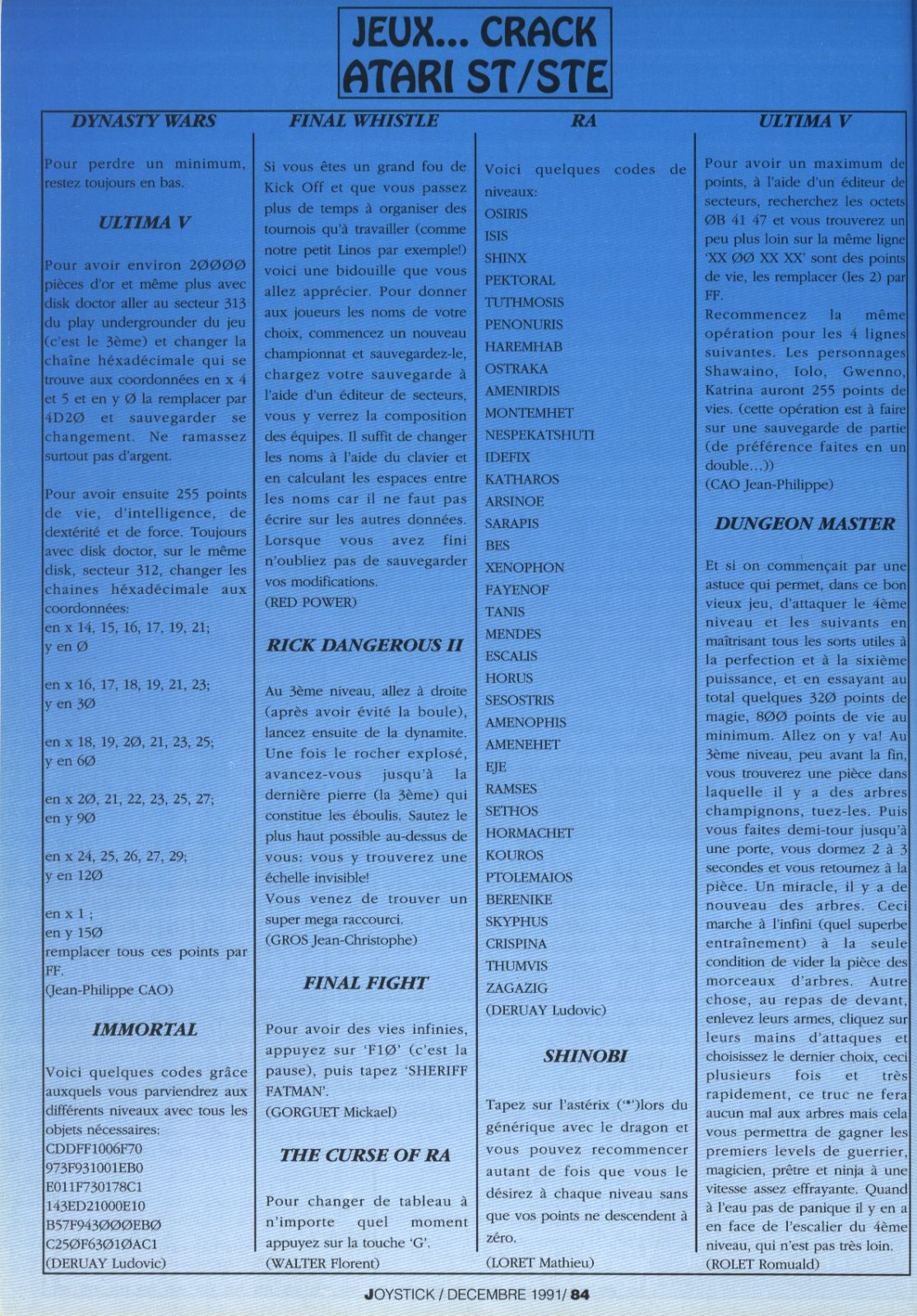 Dungeon Master Hints published in French magazine 'Joystick', Issue #22, December 1991, Page 84