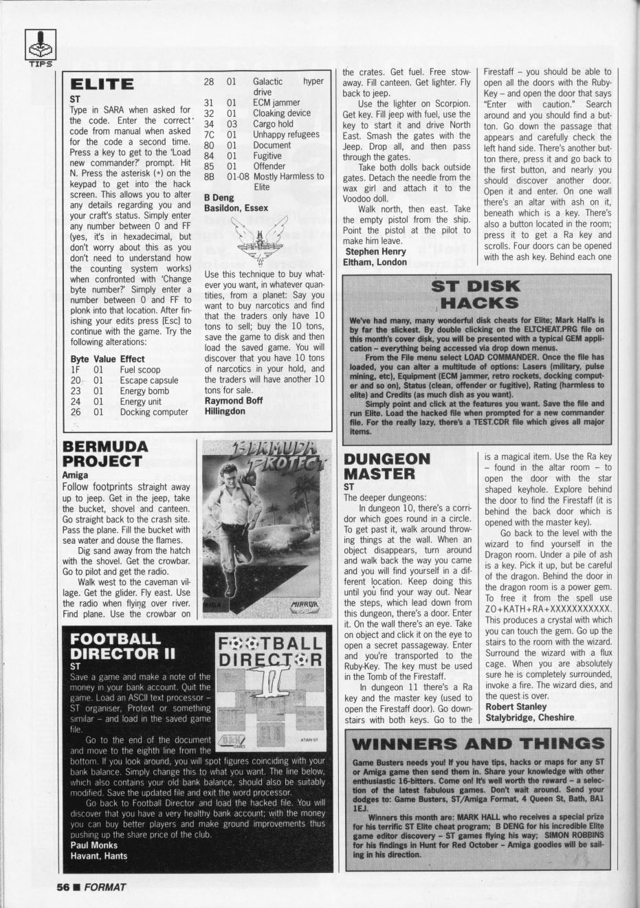 Dungeon Master Hints published in British magazine 'ST Amiga Format', Issue #7, January 1989, Page 56