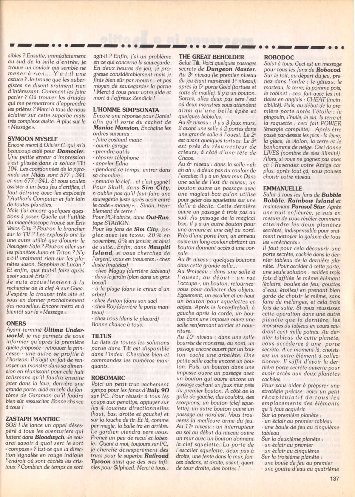 Dungeon Master Hints published in French magazine 'Tilt', Issue #105, September 1992, Page 137