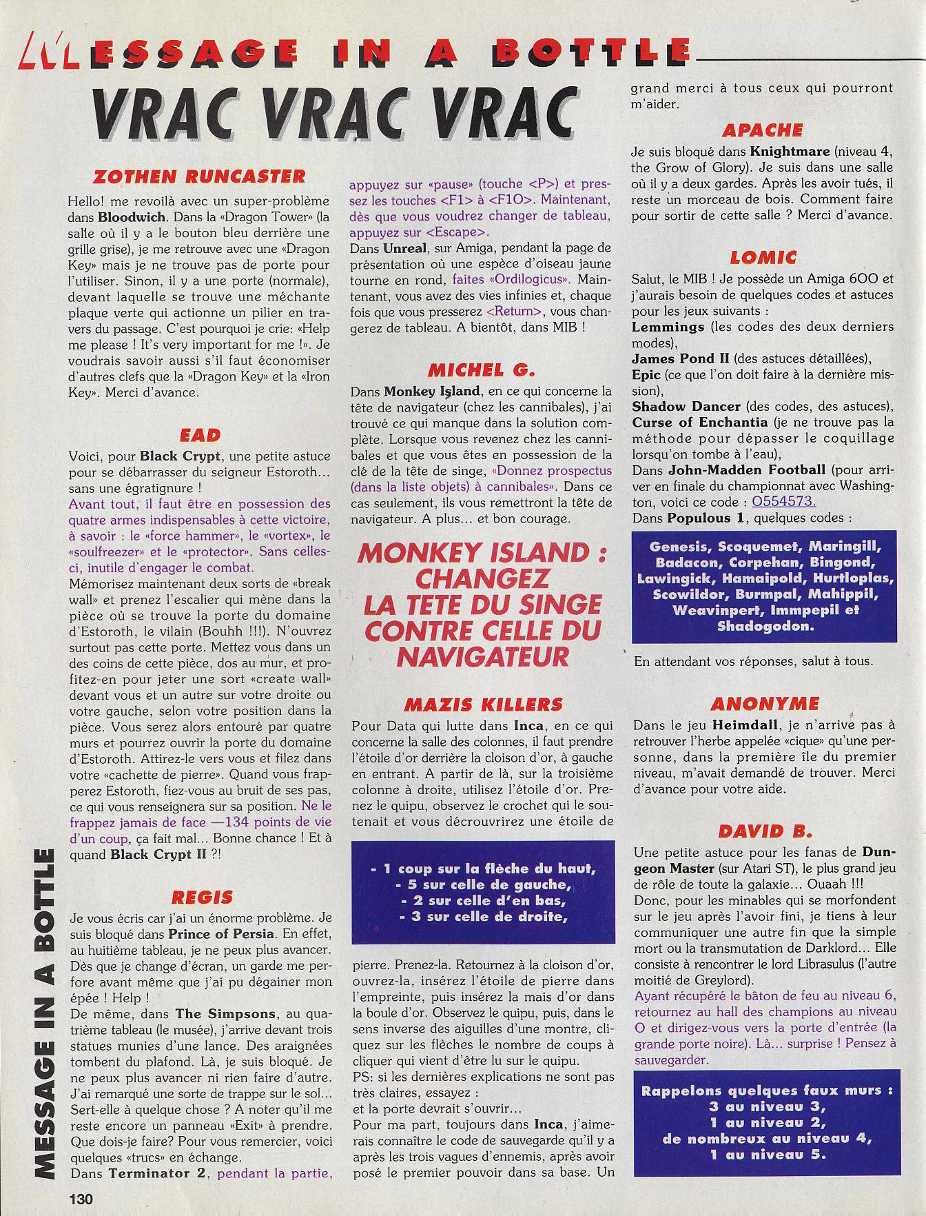 Dungeon Master Hints published in French magazine 'Tilt', Issue #115, June 1993, Page 130