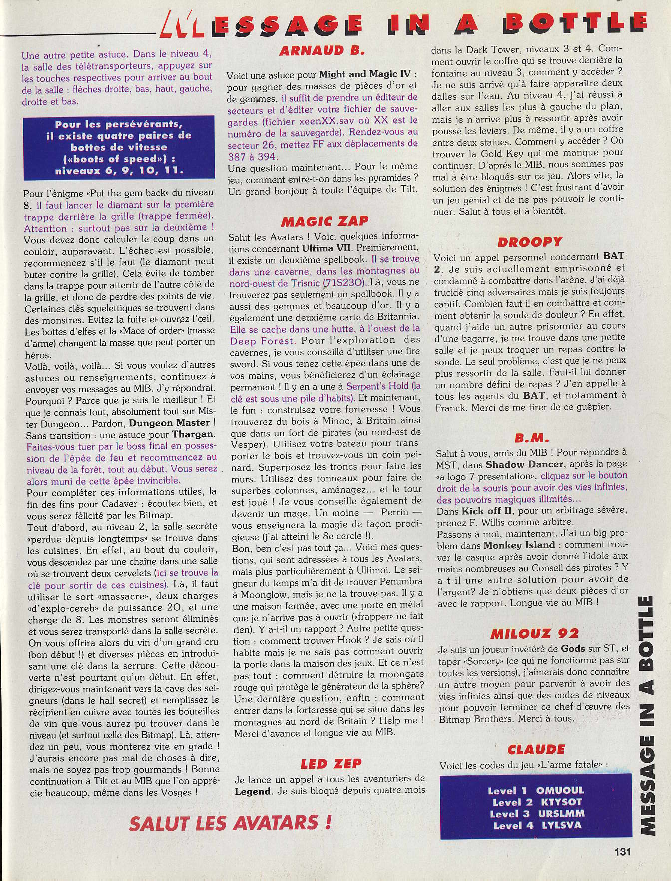 Dungeon Master and Chaos Strikes Back Hints published in French magazine 'Tilt', Issue #115, June 1993, Page 131