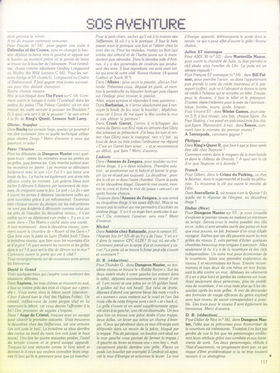 Dungeon Master Hints published in French magazine 'Tilt', Issue#56, July-August 1988, Page 117