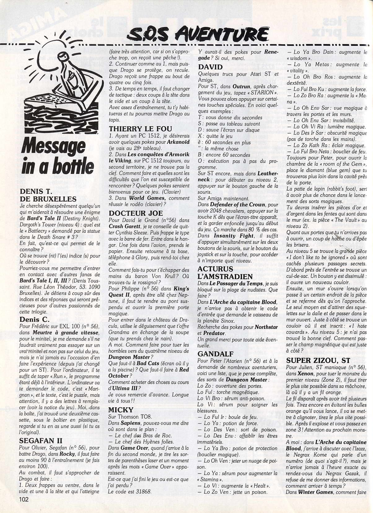 Dungeon Master Hints published in French magazine 'Tilt', Issue#58, October 1988, Page 102