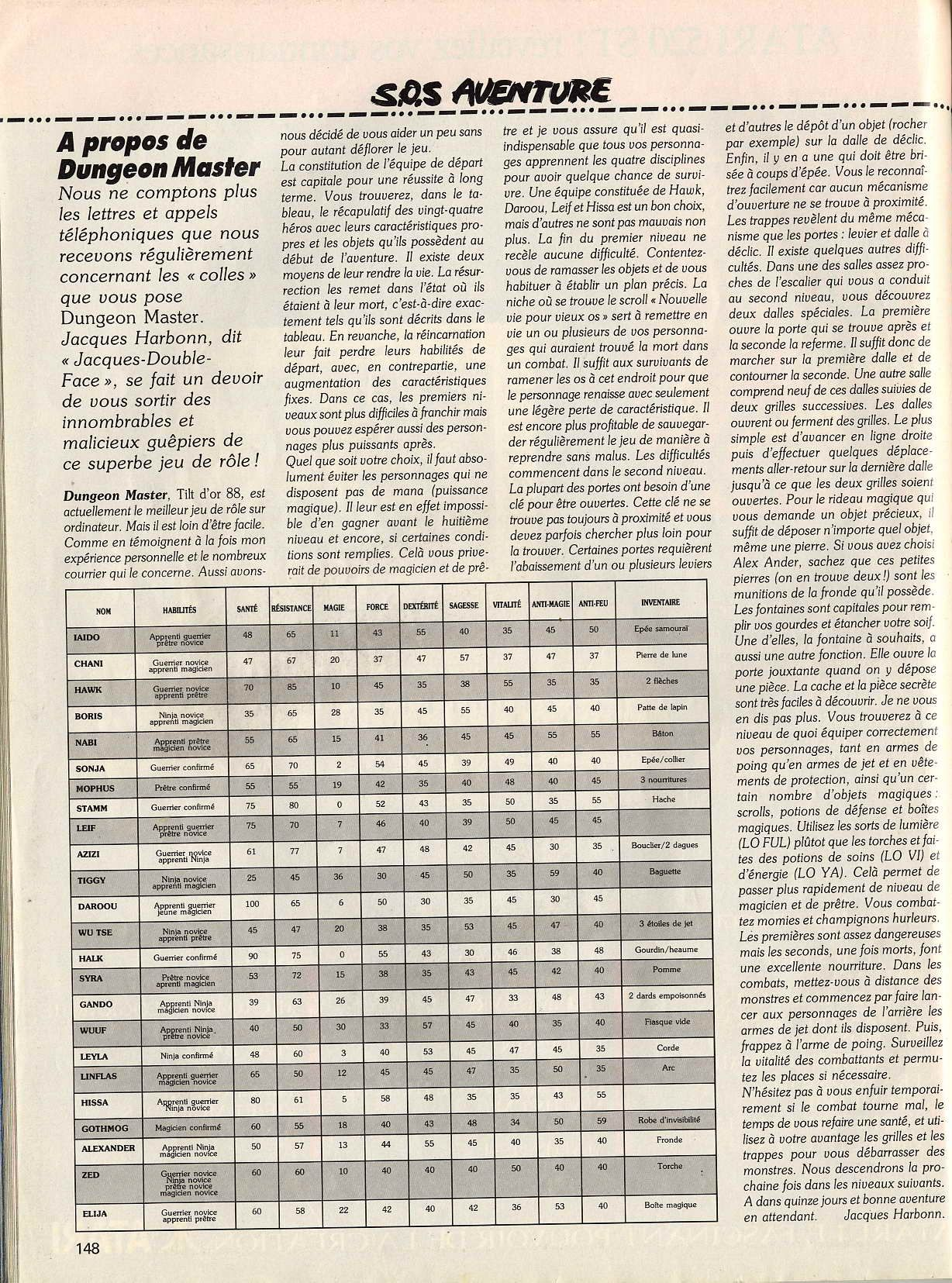 Dungeon Master Hints published in French magazine 'Tilt', Issue#61, December 1988, Page 148