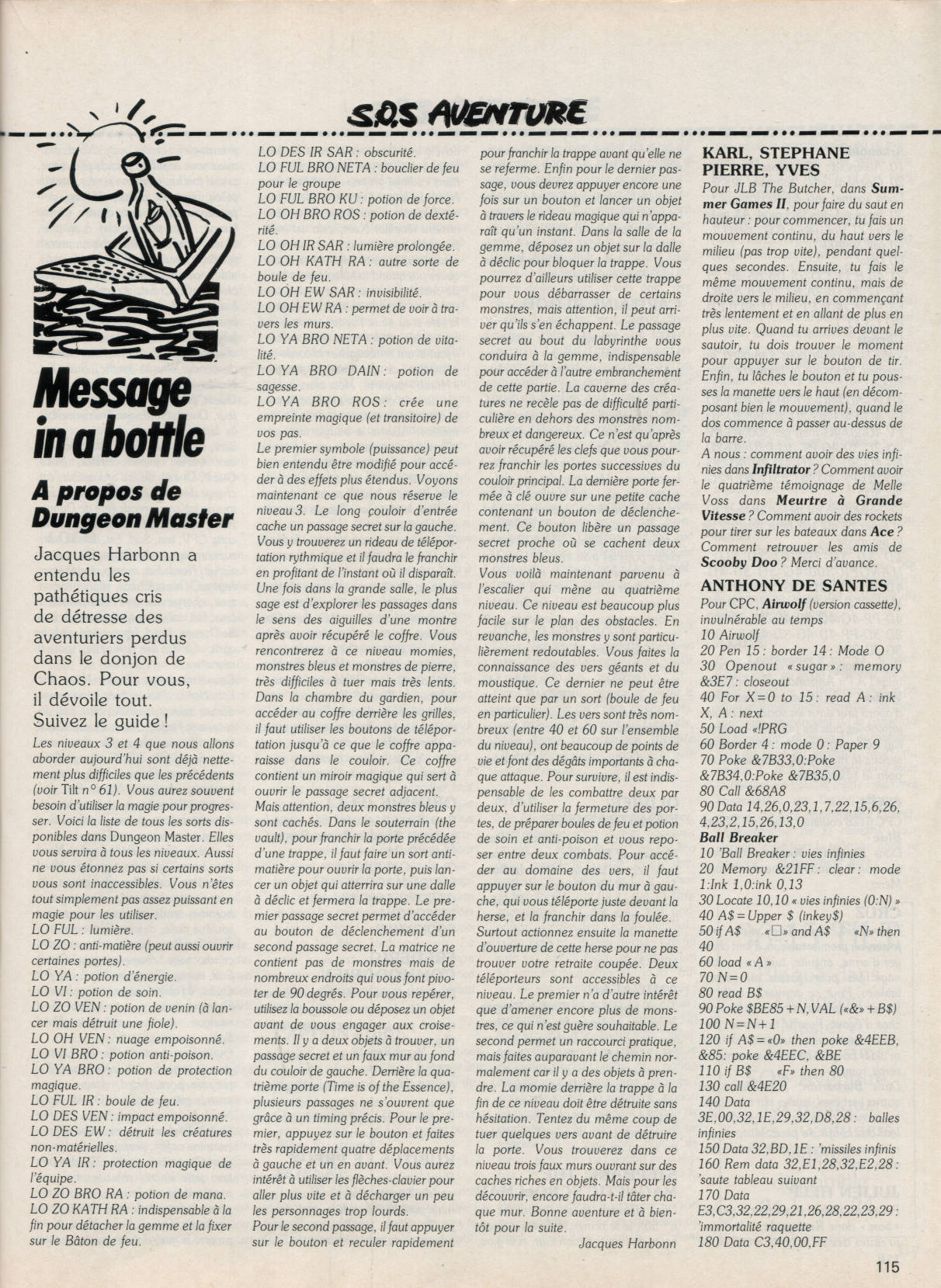 Dungeon Master Hints published in French magazine 'Tilt', Issue#62, January 1989, Page 115