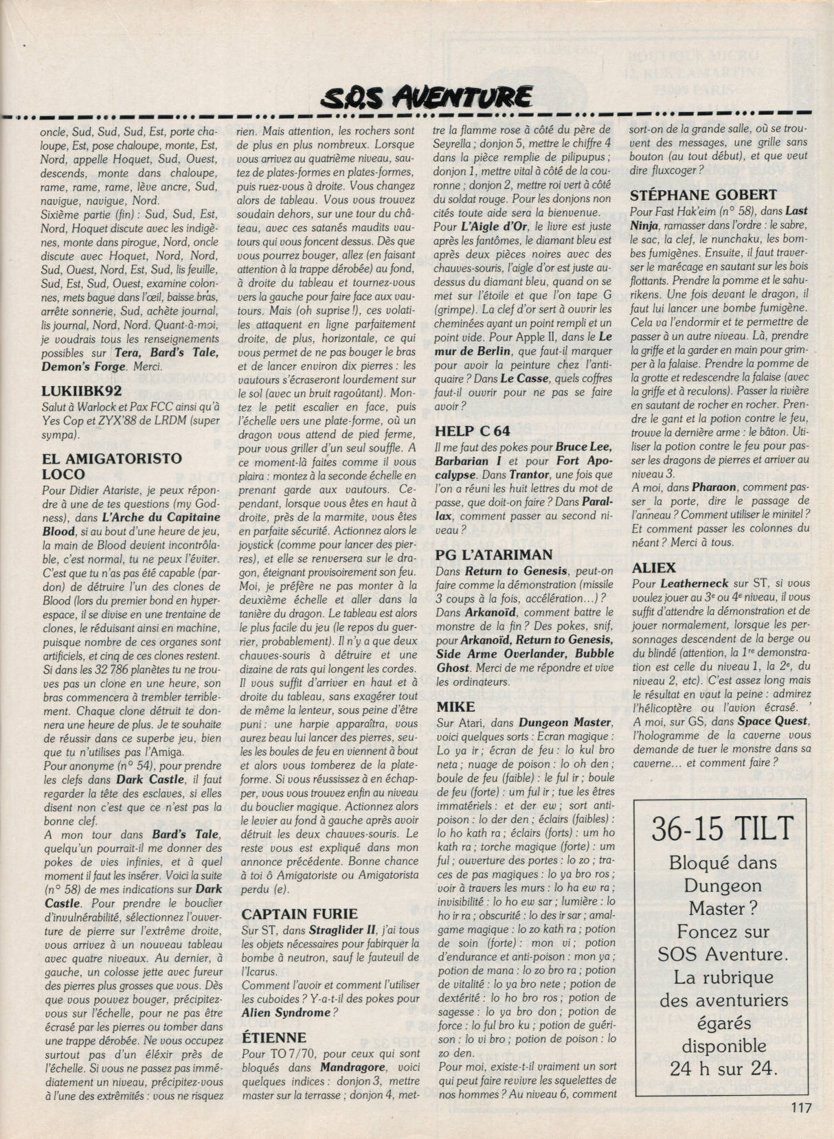 Dungeon Master Hints published in French magazine 'Tilt', Issue#62, January 1989, Page 117