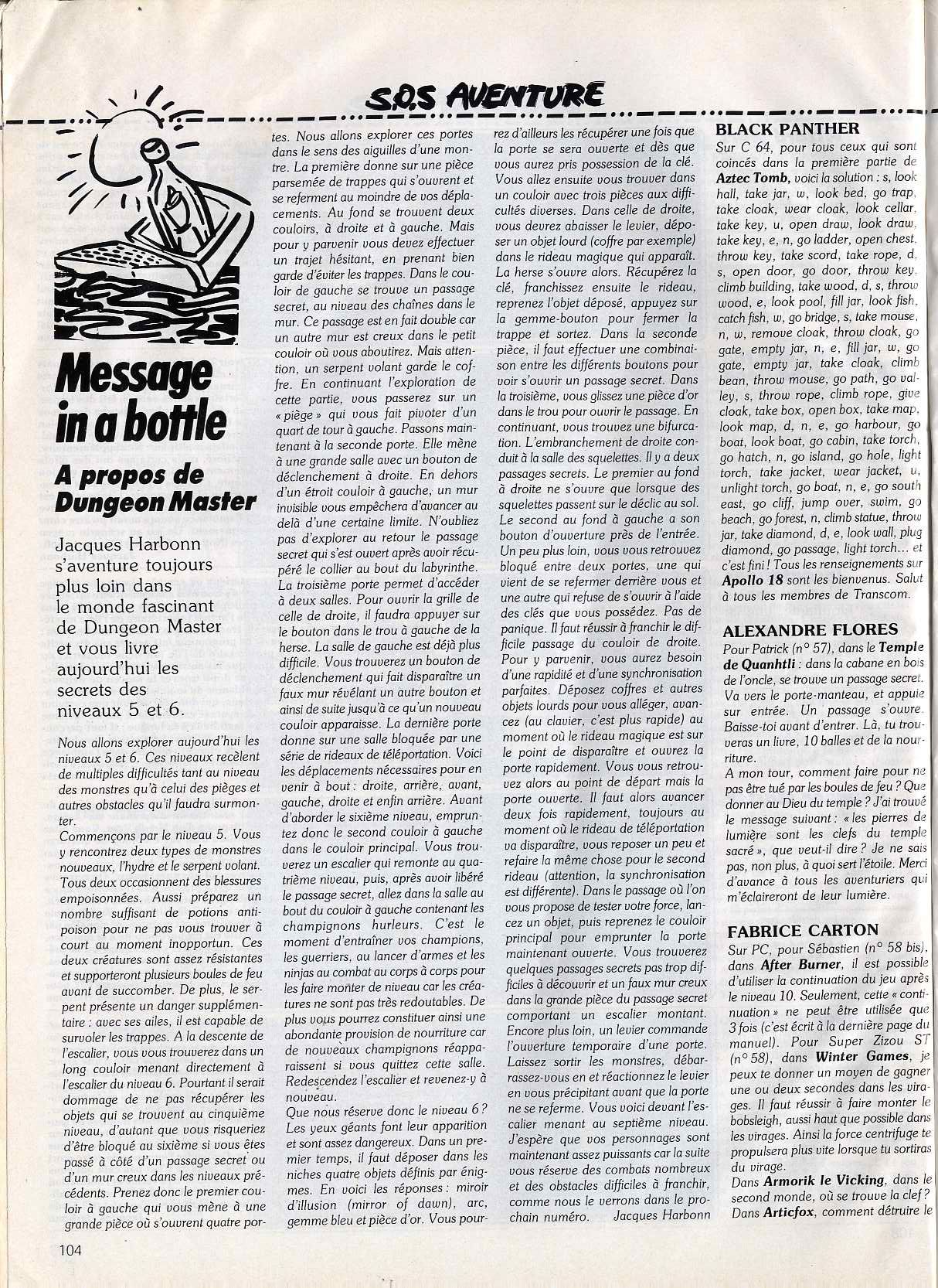 Dungeon Master Hints published in French magazine 'Tilt', Issue #63, February 1989, Page 104