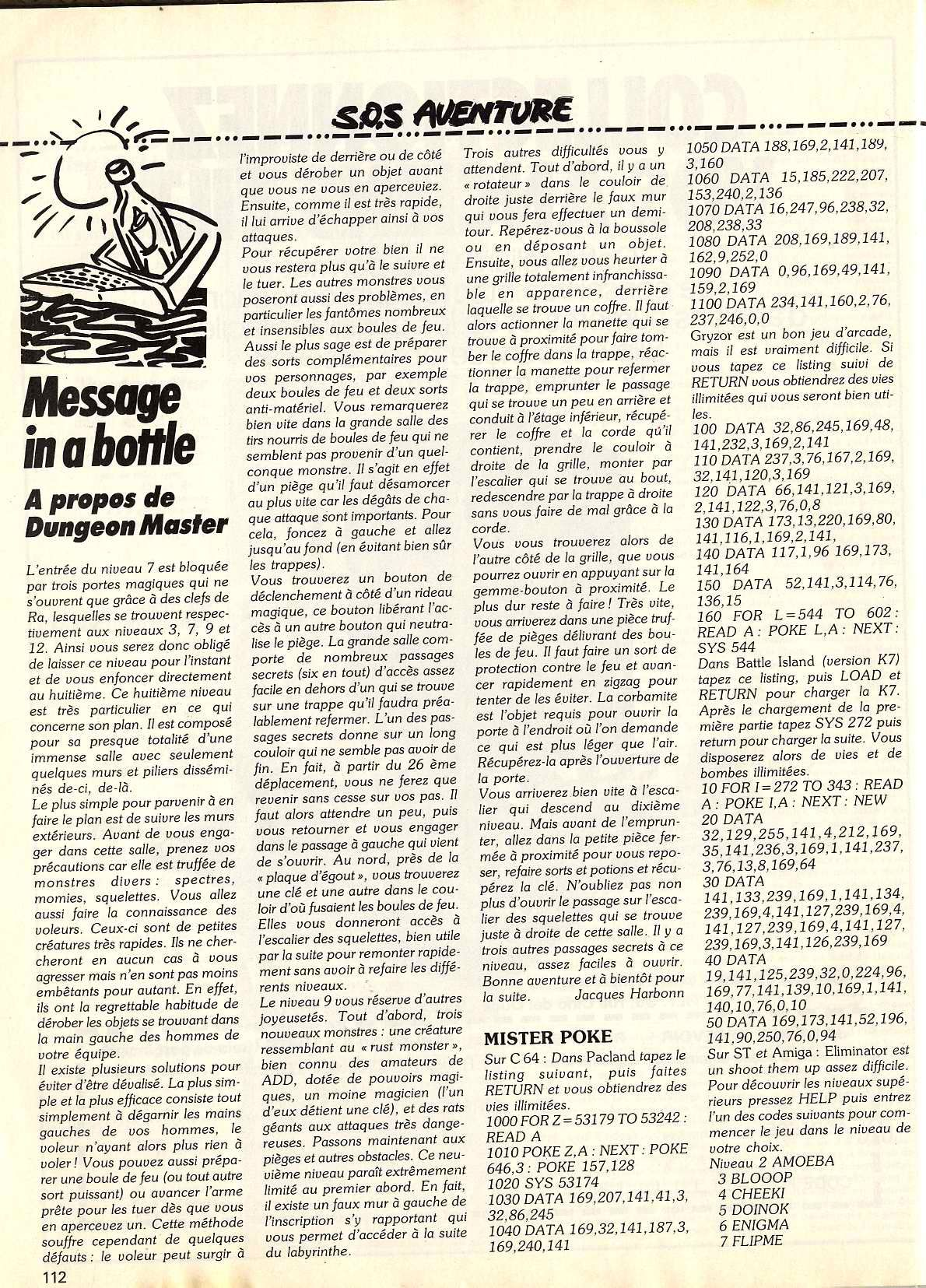Dungeon Master Hints published in French magazine 'Tilt', Issue #64, March 1989, Page 112