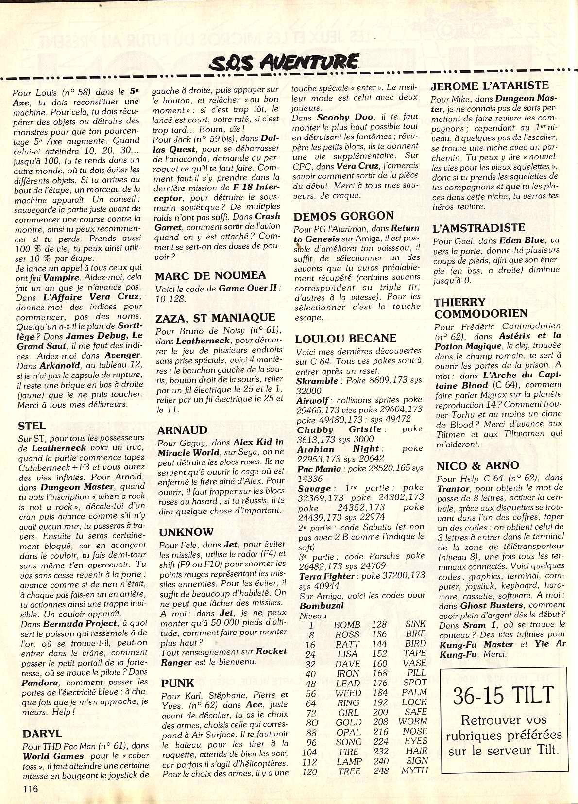 Dungeon Master Hints published in French magazine 'Tilt', Issue #64, March 1989, Page 116