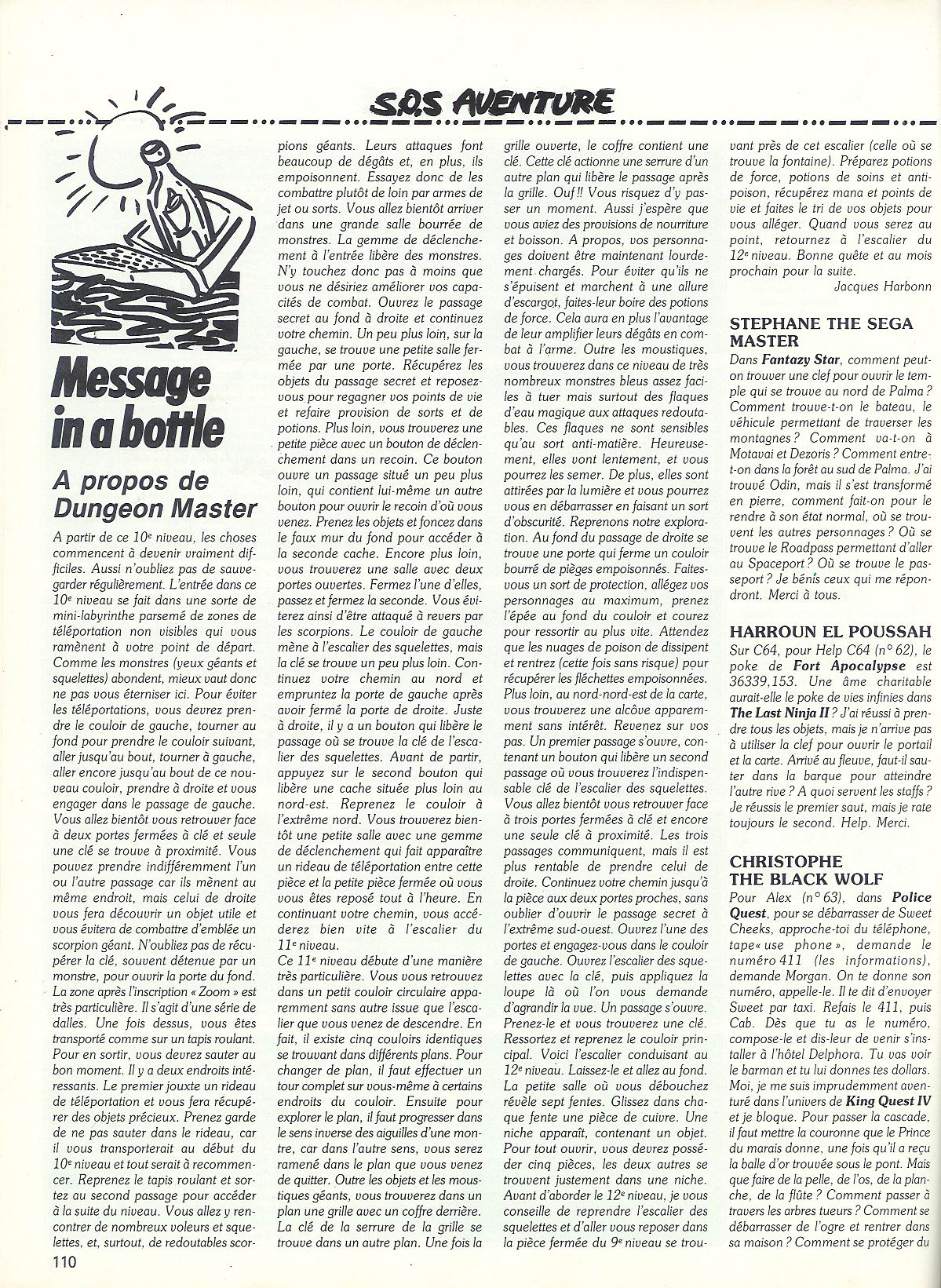 Dungeon Master Hints published in French magazine 'Tilt', Issue #65, April 1989, Page 110