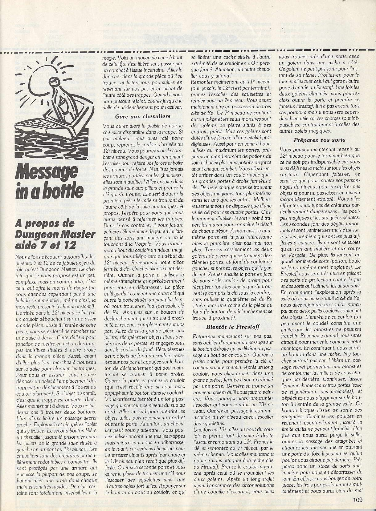 Dungeon Master Hints published in French magazine 'Tilt', Issue #66, May 1989, Page 109