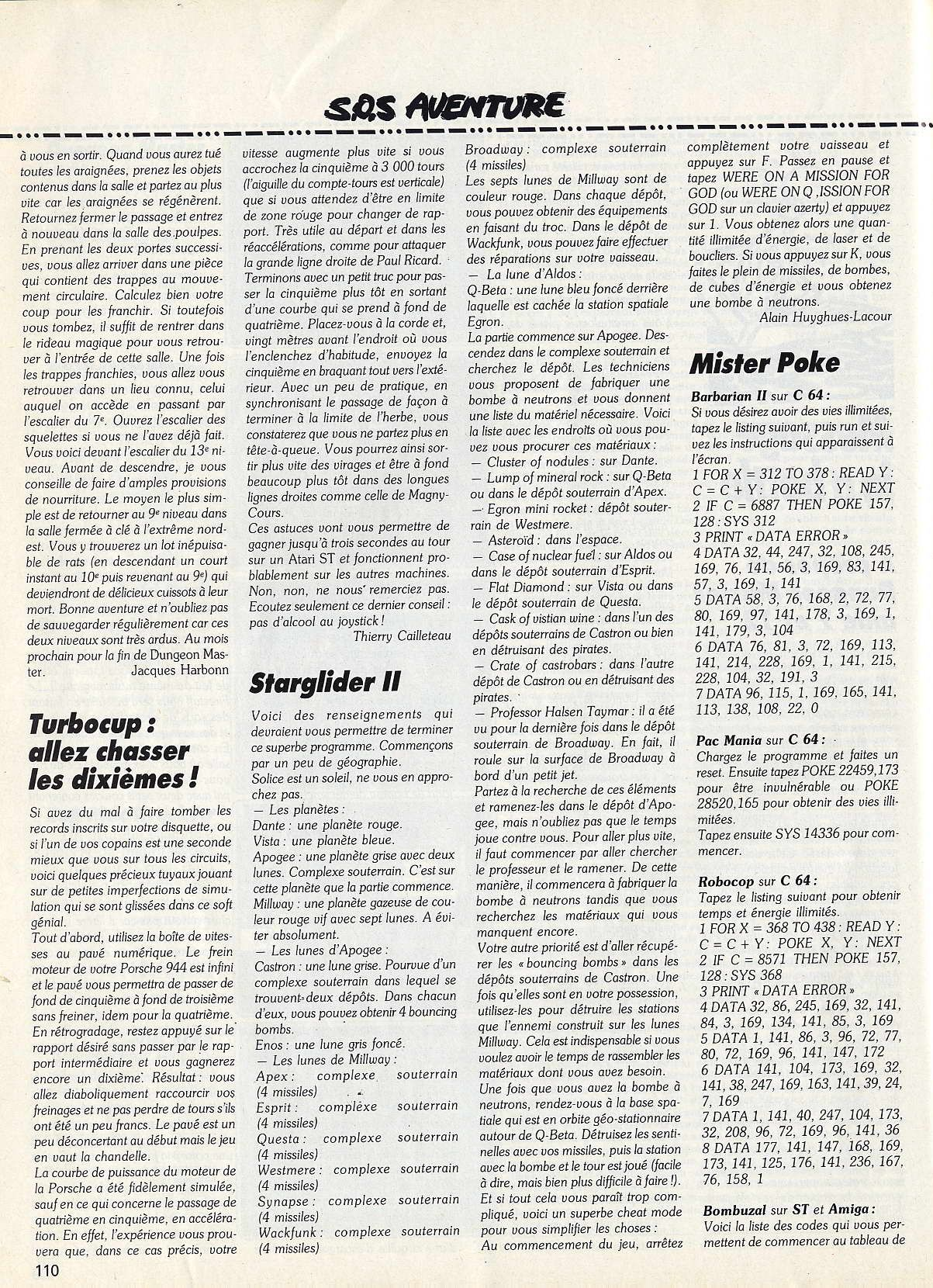 Dungeon Master Hints published in French magazine 'Tilt', Issue #66, May 1989, Page 110