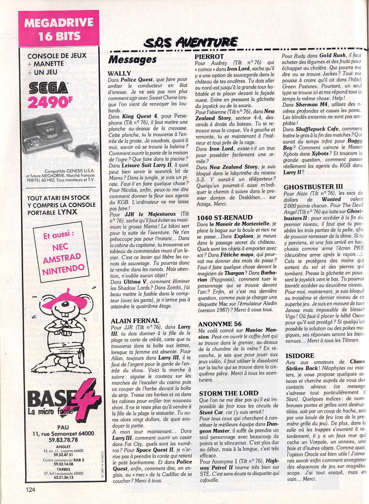 Dungeon Master Hints published in French magazine 'Tilt', Issue #78, May 1990, Page 124
