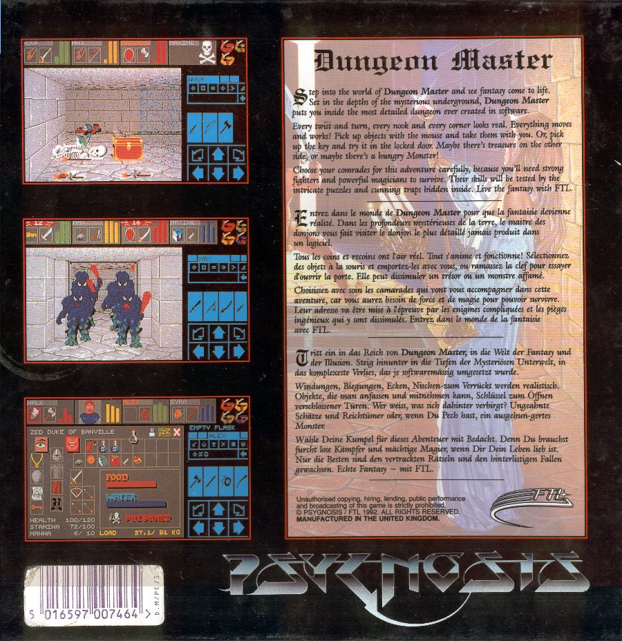 Dungeon Master for PC - Box Back