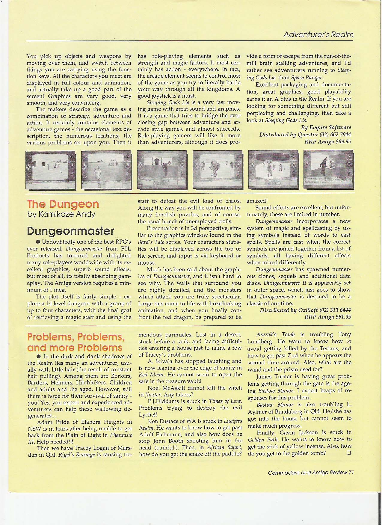 Dungeon Master for Amiga Review published in Australian magazine 'ACAR', Vol. 10 No. 6, October 1989, Page 71