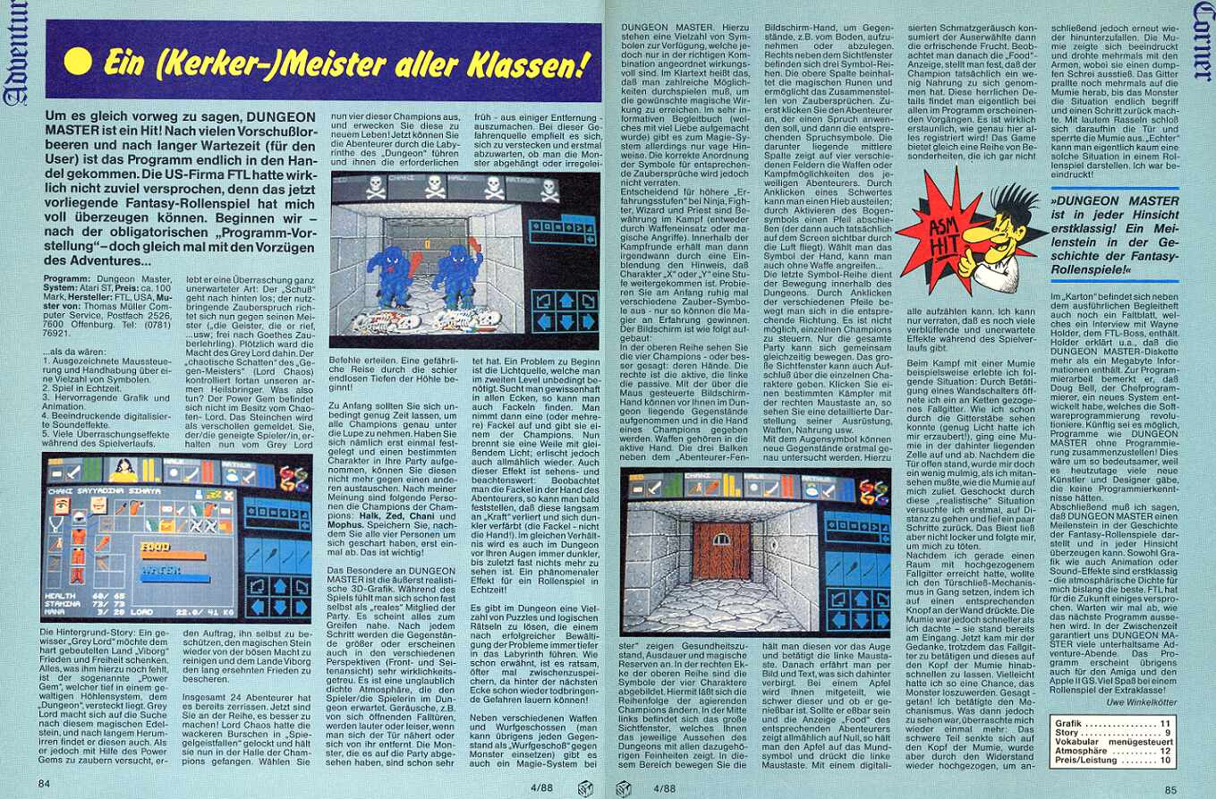 Dungeon Master for Amiga Review published in German magazine 'ASM', April 1988