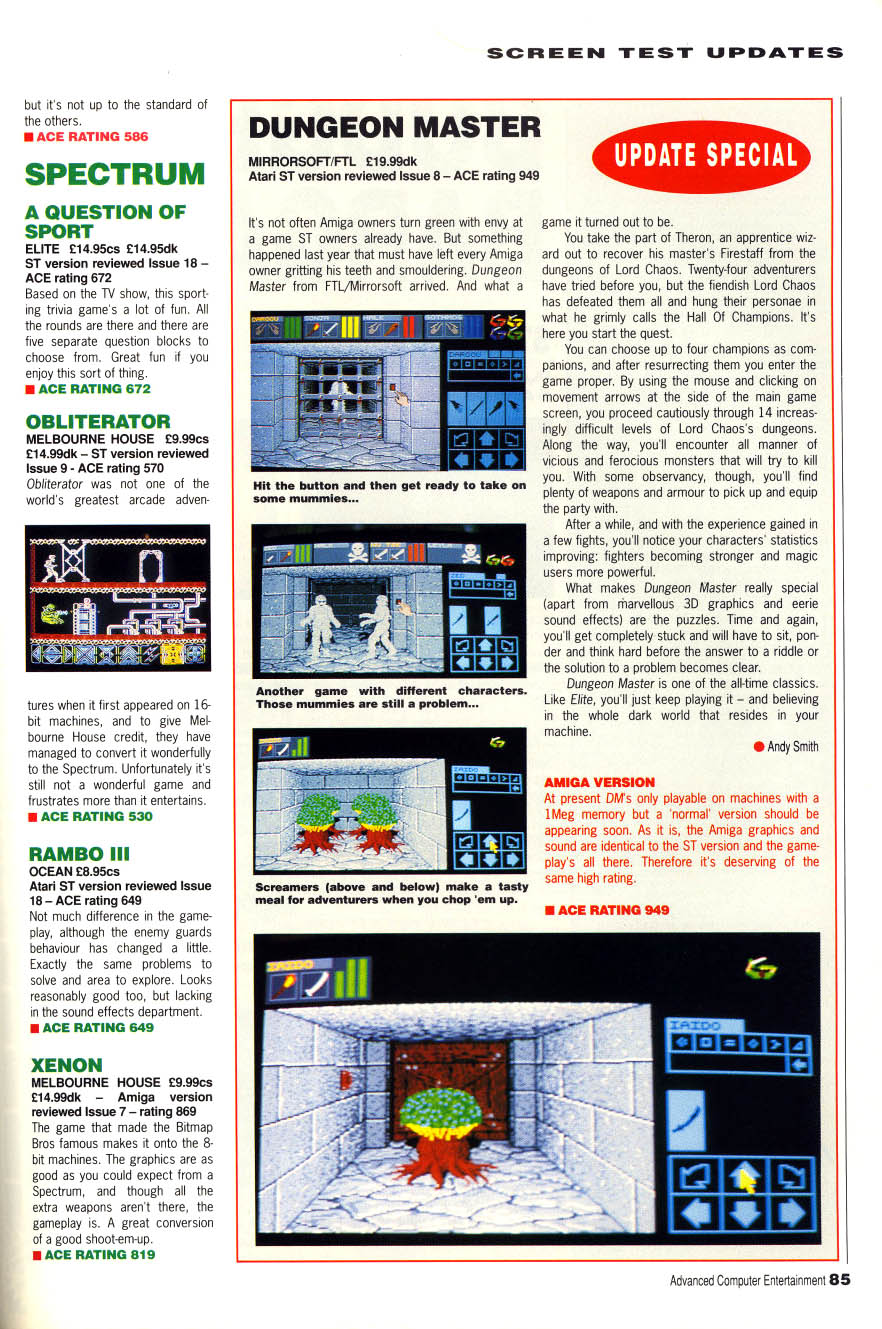 Dungeon Master for Amiga Review published in British magazine 'Advanced Computer Entertainment (ACE)', Issue #19, April 1989, Page 85