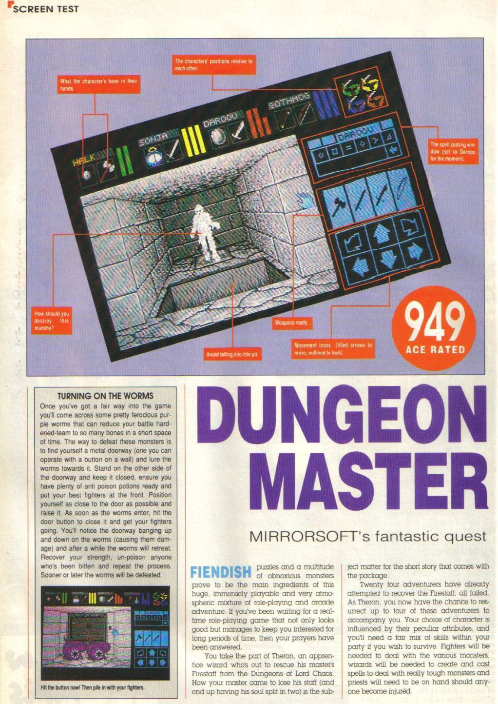 Dungeon Master for Atari ST Review published in British magazine 'Advanced Computer Entertainment (ACE)', Issue #8, May 1988, Page 54