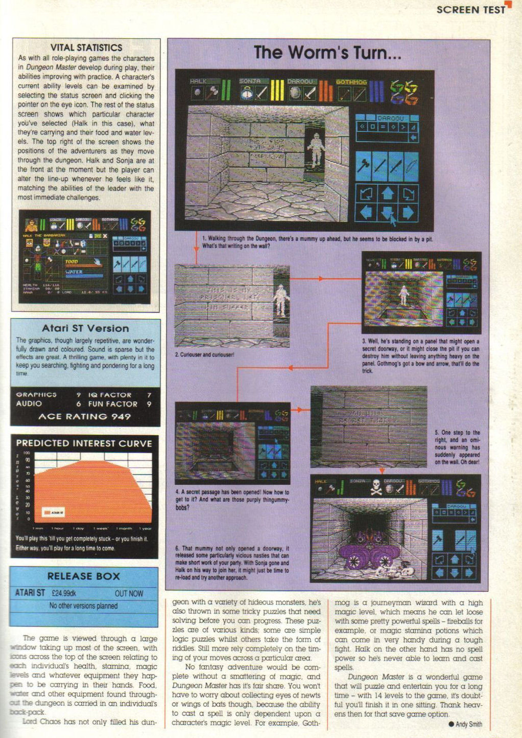 Dungeon Master for Atari ST Review published in British magazine 'Advanced Computer Entertainment (ACE)', Issue #8, May 1988, Page 55