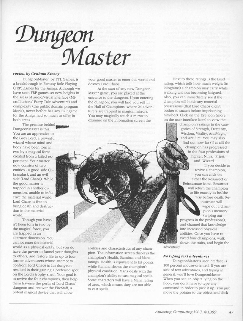 Dungeon Master for Amiga Review published in American magazine 'Amazing Computing', Vol. 4 No. 7, July 1989, Page 47