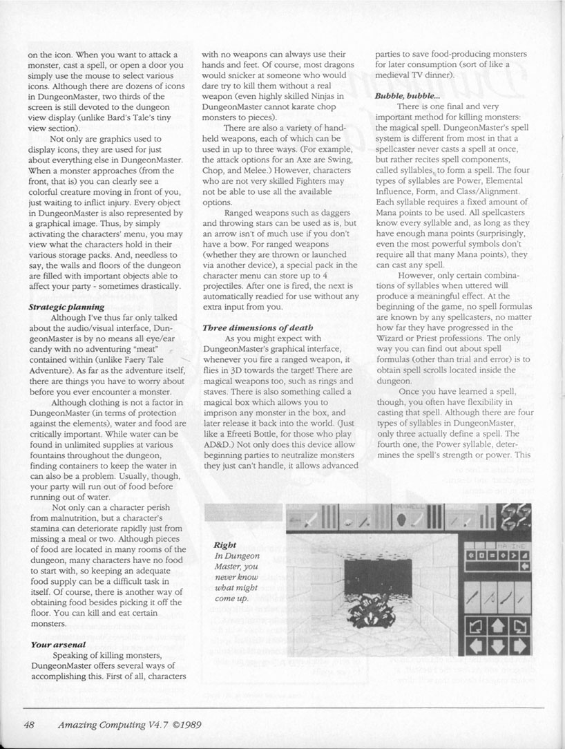 Dungeon Master for Amiga Review published in American magazine 'Amazing Computing', Vol. 4 No. 7, July 1989, Page 48