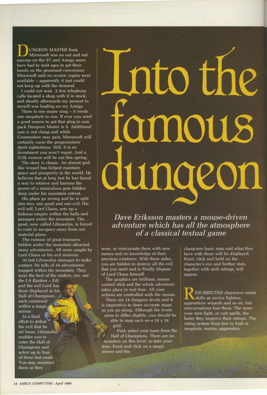 Dungeon Master for Amiga Review published in British / American magazine 'Amiga Computing', Issue #11 (Vol. 1 No. 11), Pages 14