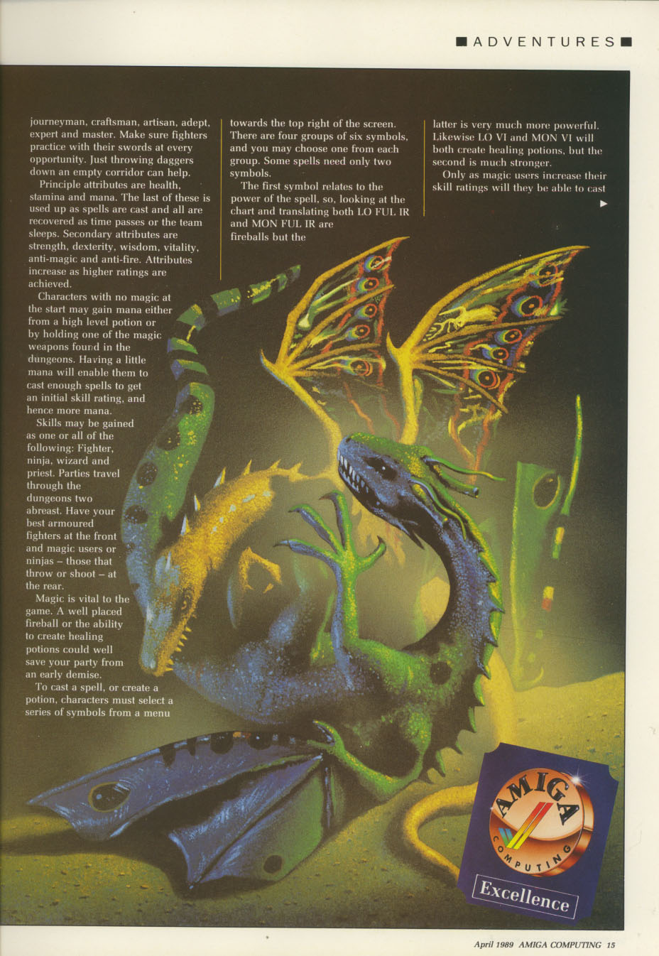 Dungeon Master for Amiga Review published in British / American magazine 'Amiga Computing', Issue #11 (Vol. 1 No. 11), Pages 15