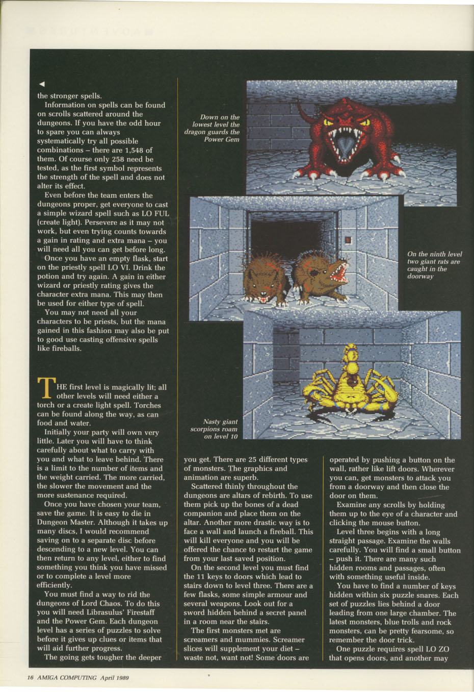 Dungeon Master for Amiga Review published in British / American magazine 'Amiga Computing', Issue #11 (Vol. 1 No. 11), Pages 16