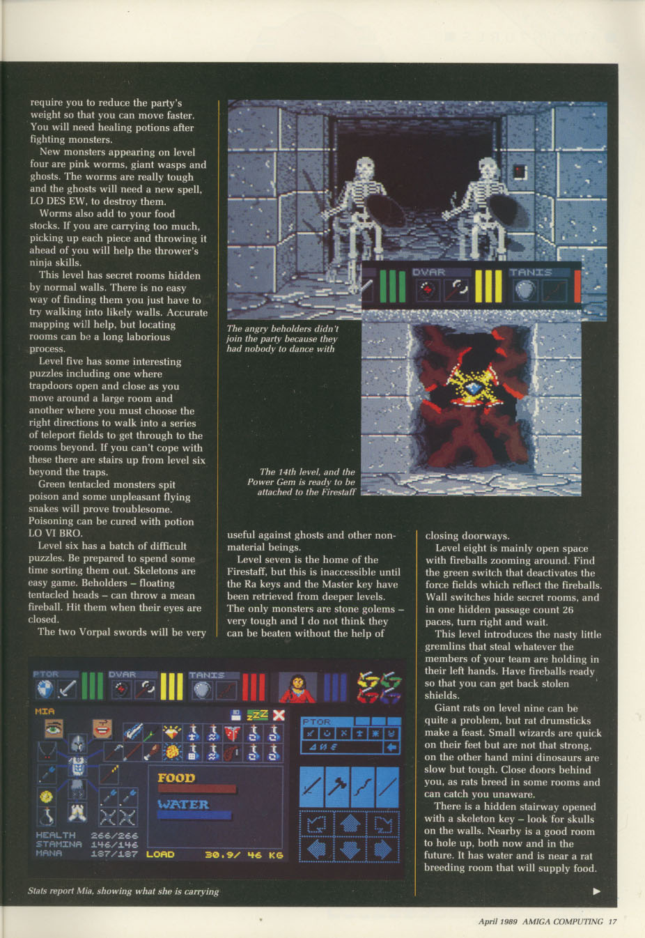 Dungeon Master for Amiga Review published in British / American magazine 'Amiga Computing', Issue #11 (Vol. 1 No. 11), Pages 17