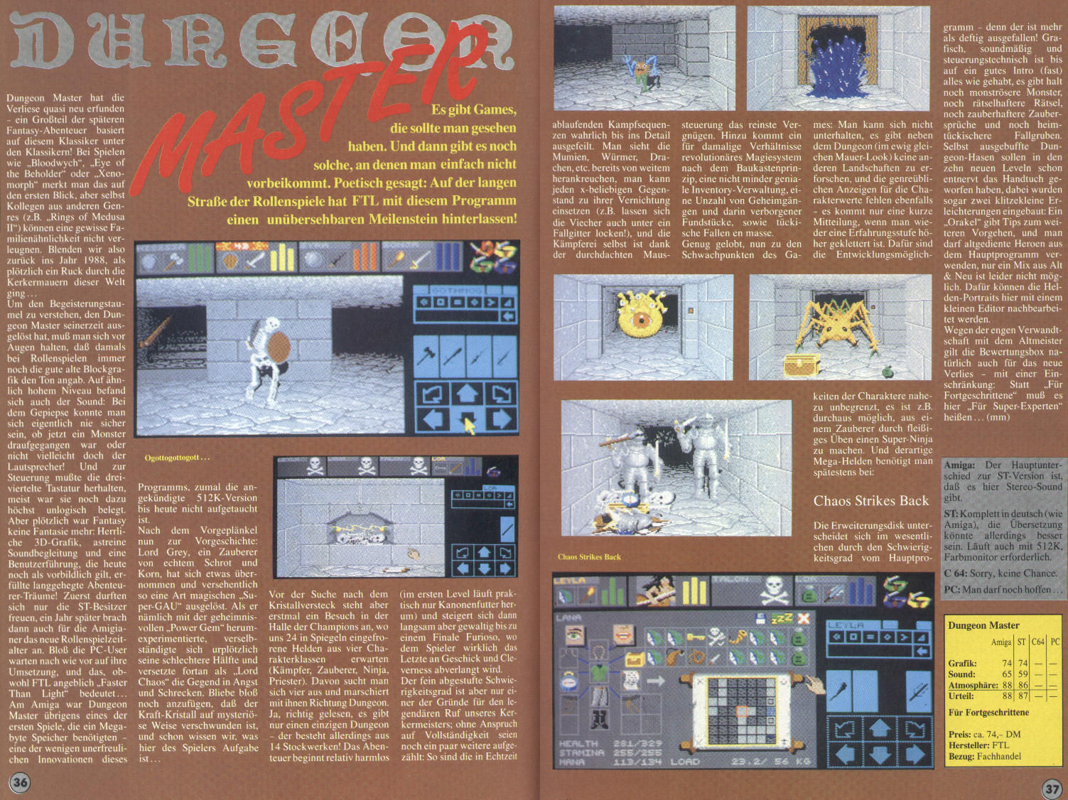 Dungeon Master for Atari ST / Amiga Review published in German magazine 'Amiga Joker', Sonderheft #3, 1992', Pages 36-37