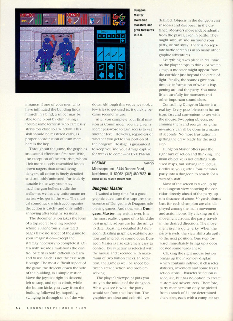 Dungeon Master for Amiga Review published in American magazine 'Amiga plus', Issue #3, August 1989, Page 52
