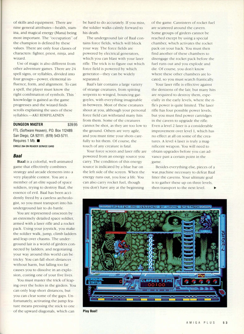 Dungeon Master for Amiga Review published in American magazine 'Amiga plus', Issue #3, August 1989, Page 53