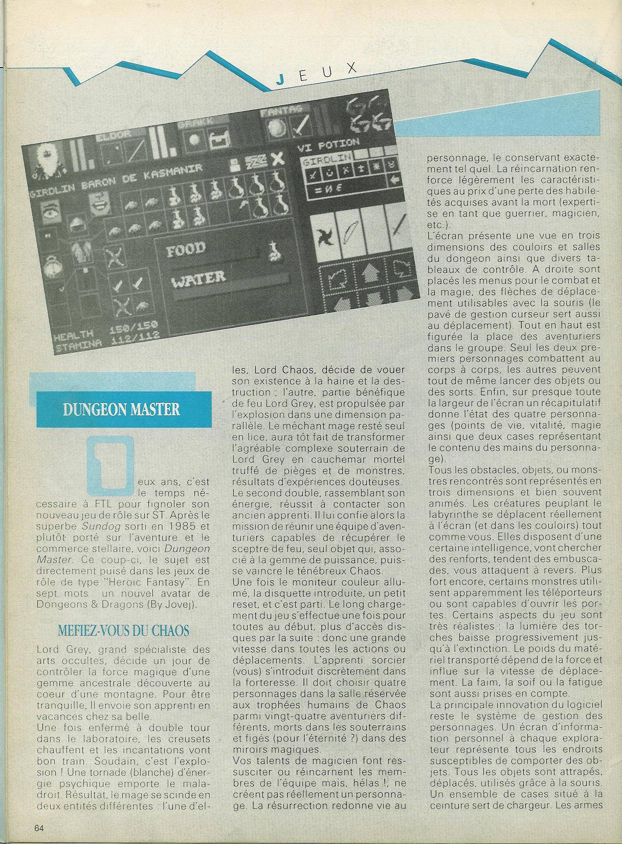Dungeon Master for Atari ST Review published in French magazine 'Atari 1ST', Issue #8, April 1988, Page 64