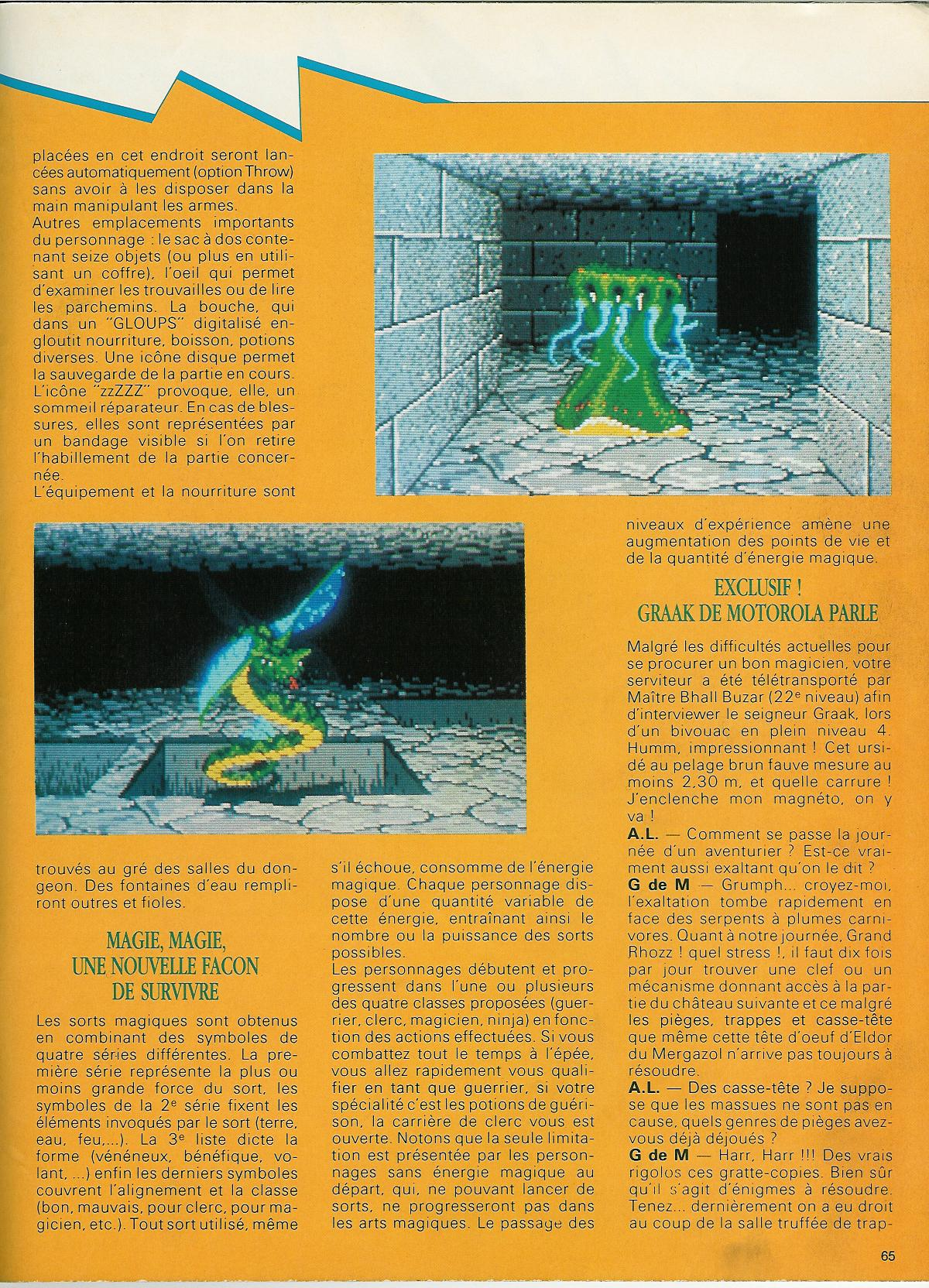 Dungeon Master for Atari ST Review published in French magazine 'Atari 1ST', Issue #8, April 1988, Page 65