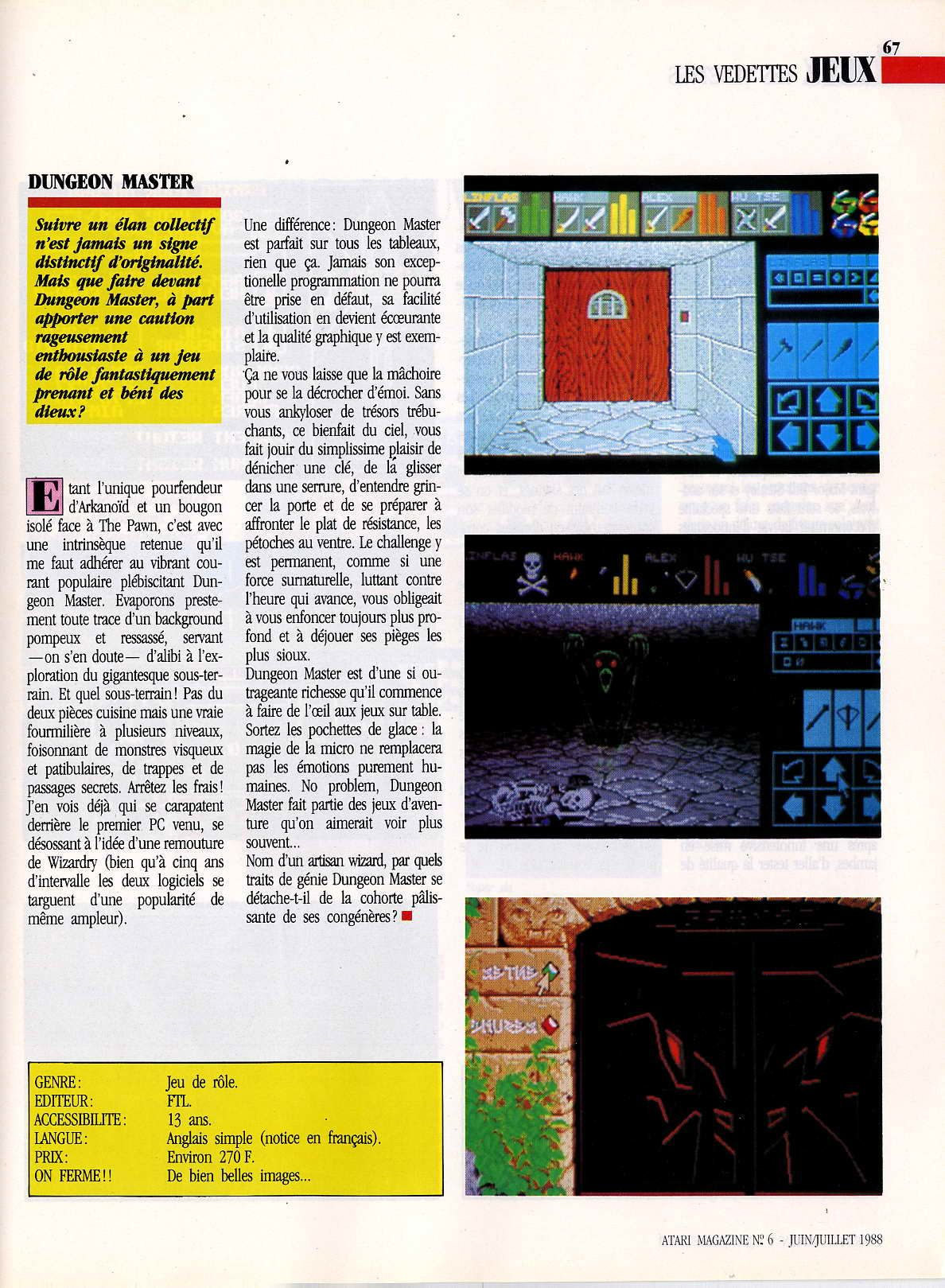 Dungeon Master for Atari ST Review published in French magazine 'Atari magazine (First Version)', Issue #6, June 1988, Page 67
