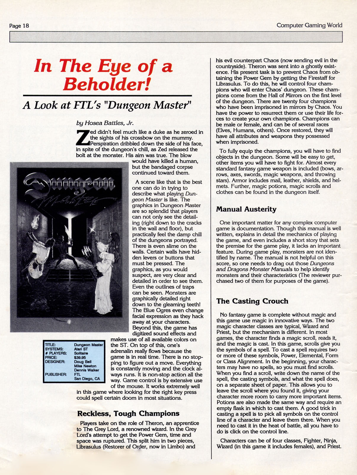 Dungeon Master for Atari ST Review published in American magazine 'Computer Gaming World', Issue #46, April 1988, Page 18