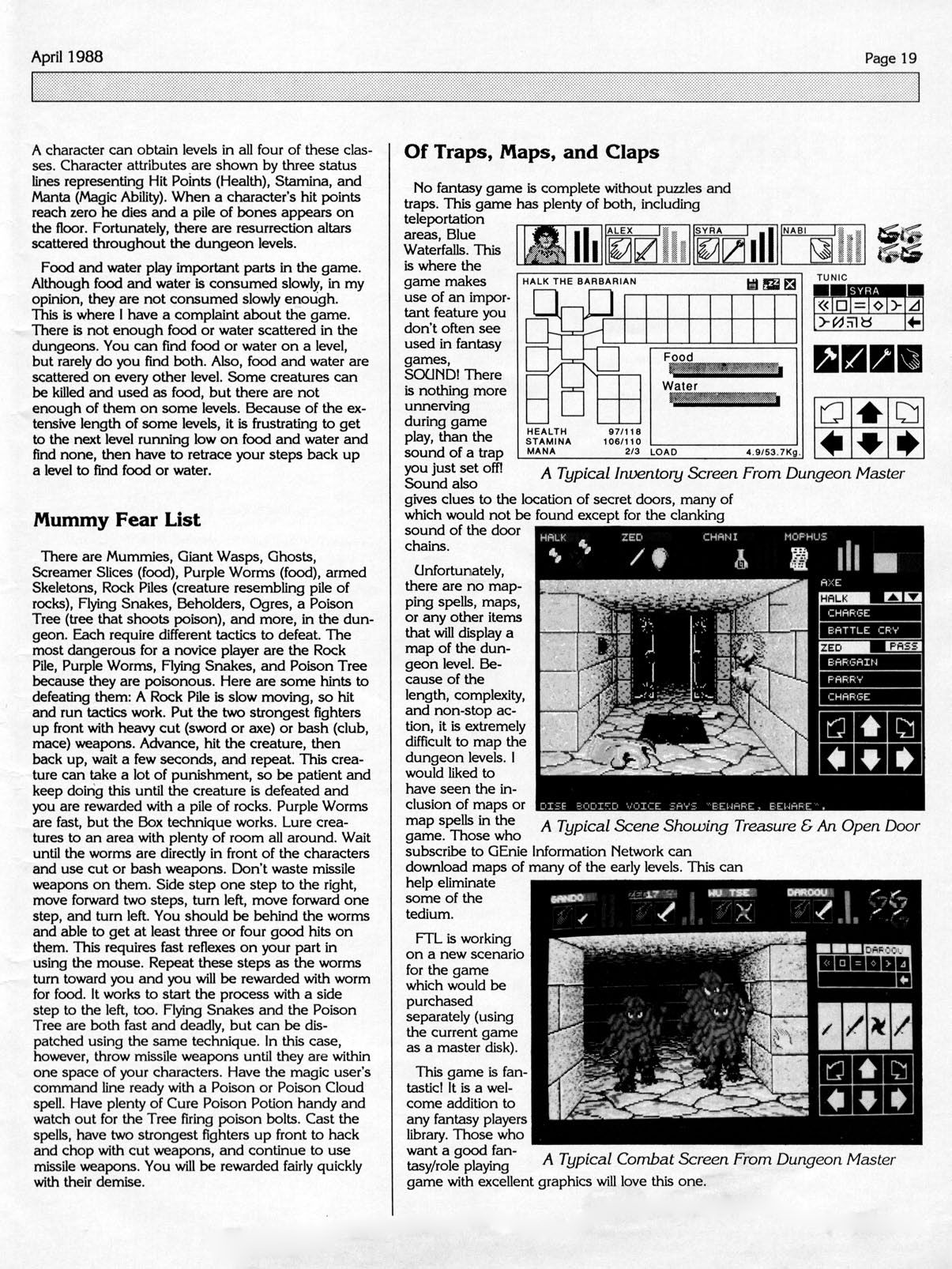 Dungeon Master for Atari ST Review published in American magazine 'Computer Gaming World', Issue #46, April 1988, Page 19