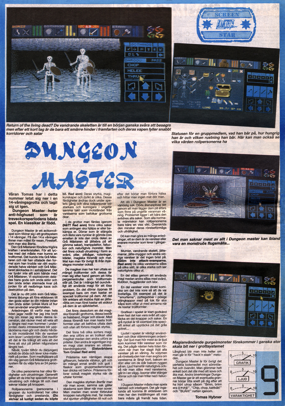 Dungeon Master for Amiga Review published in Swedish magazine 'Datormagazin', Issue #5, April 1989, Page 18