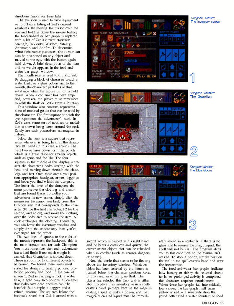 Dungeon Master for Atari ST / Amiga / Apple IIGS Review published in British / American magazine 'Dragon Magazine', Issue #136 Vol. XIII, No. 3, August 1988, Page 77