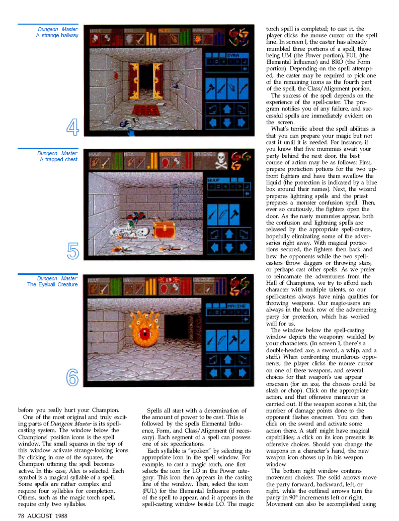 Dungeon Master for Atari ST / Amiga / Apple IIGS Review published in British / American magazine 'Dragon Magazine', Issue #136 Vol. XIII, No. 3, August 1988, Page 78