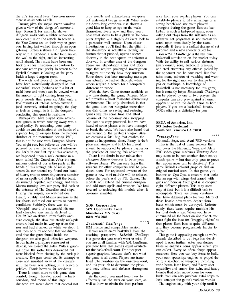 Dungeon Master for Atari ST / Amiga / Apple IIGS Review published in British / American magazine 'Dragon Magazine', Issue #136 Vol. XIII, No. 3, August 1988, Page 79