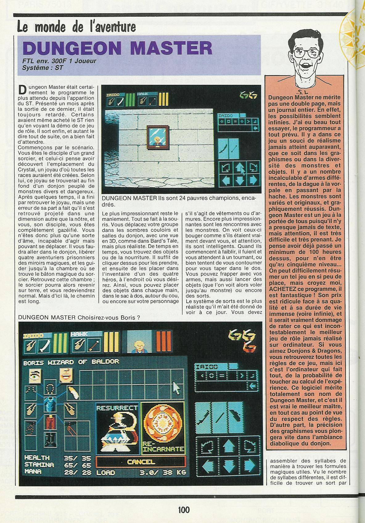Dungeon Master for Atari ST Review published in French magazine 'Gen4', Issue #3, March 1988, Page 100