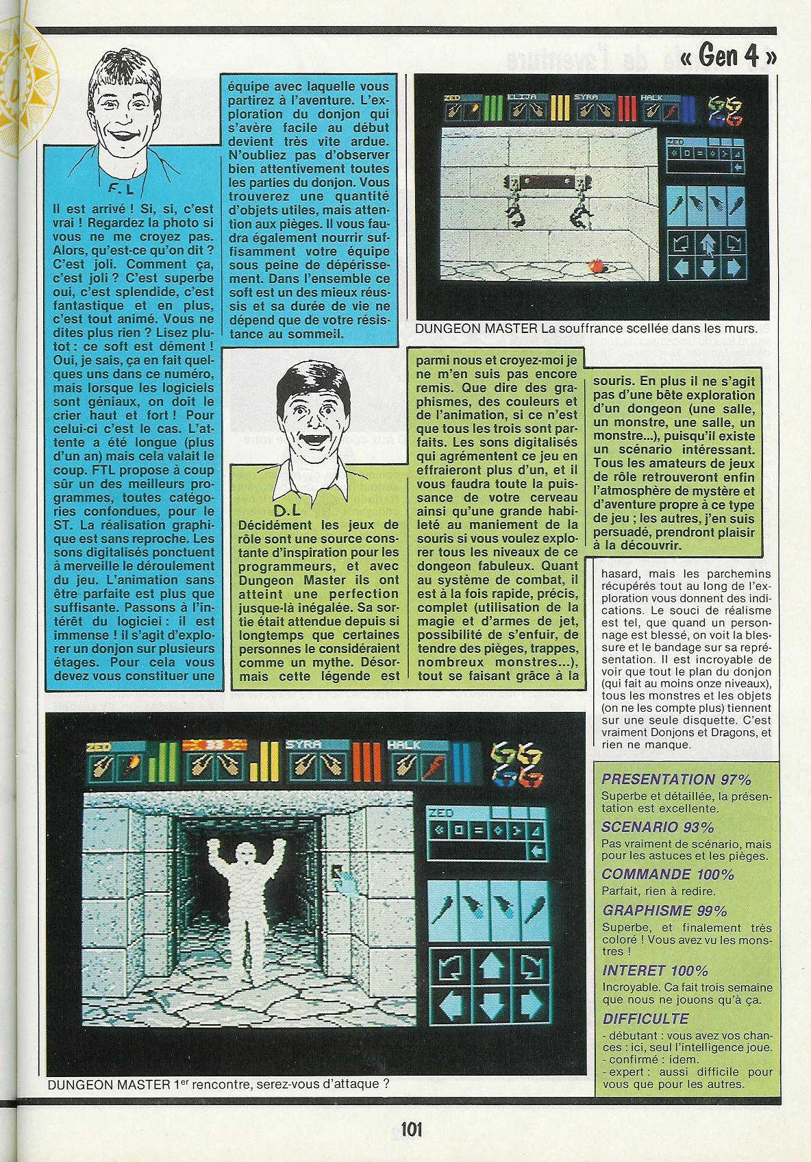 Dungeon Master for Atari ST Review published in French magazine 'Gen4', Issue #3, March 1988, Page 101