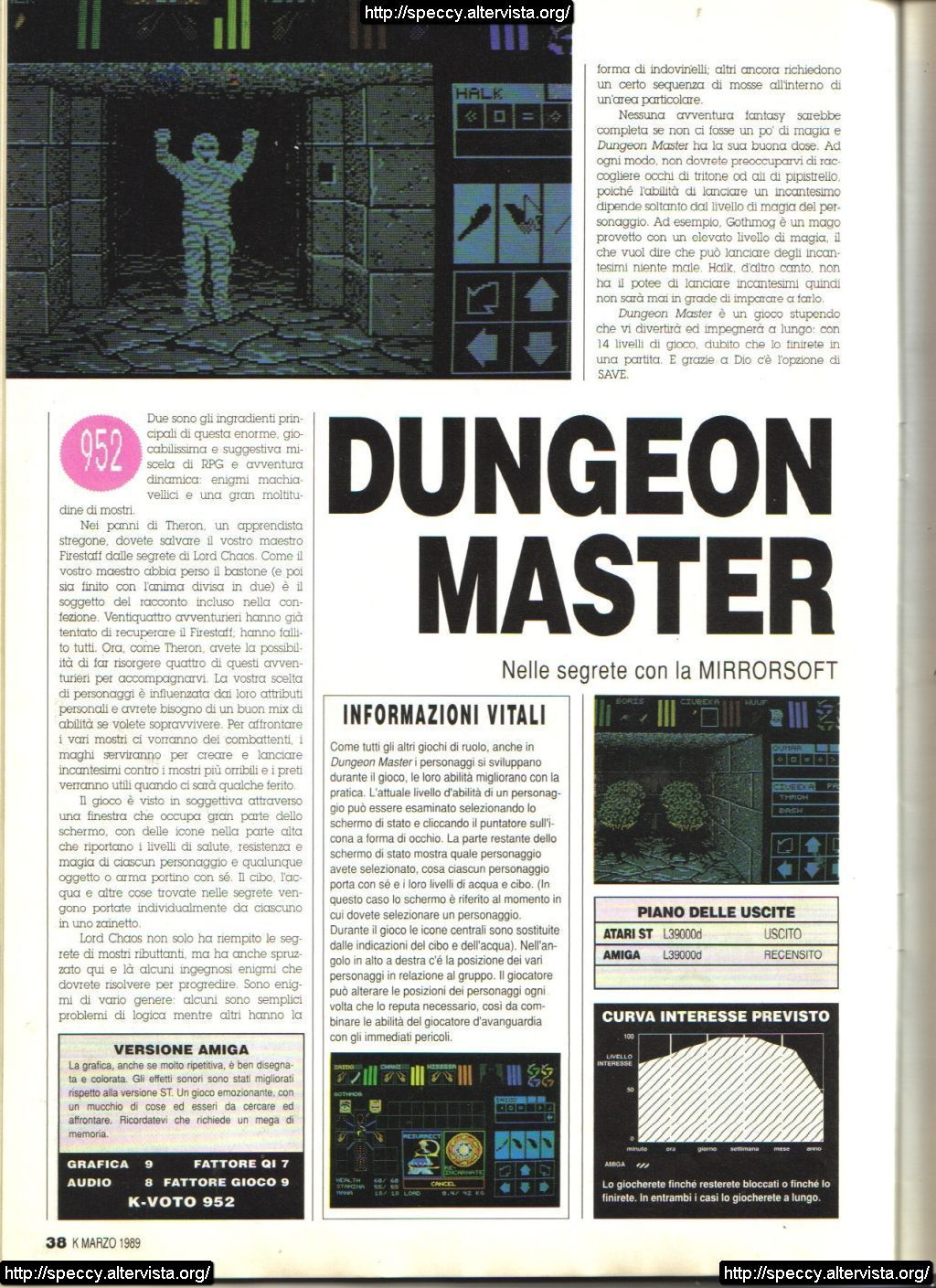 Dungeon Master for Amiga Review published in Italian magazine 'K', Issue #4, March 1989, Page 40