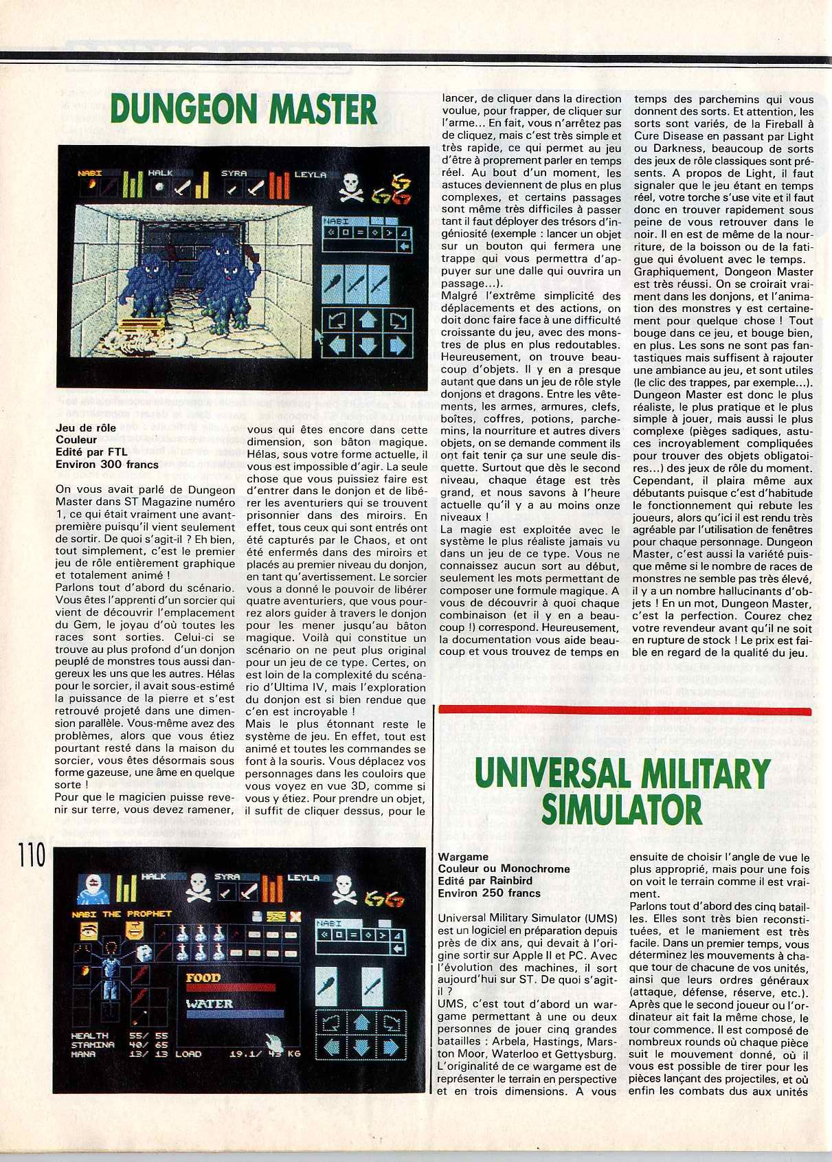 Dungeon Master for Atari ST Review published in French magazine 'STMag', Issue #17, March 1988, Page 110