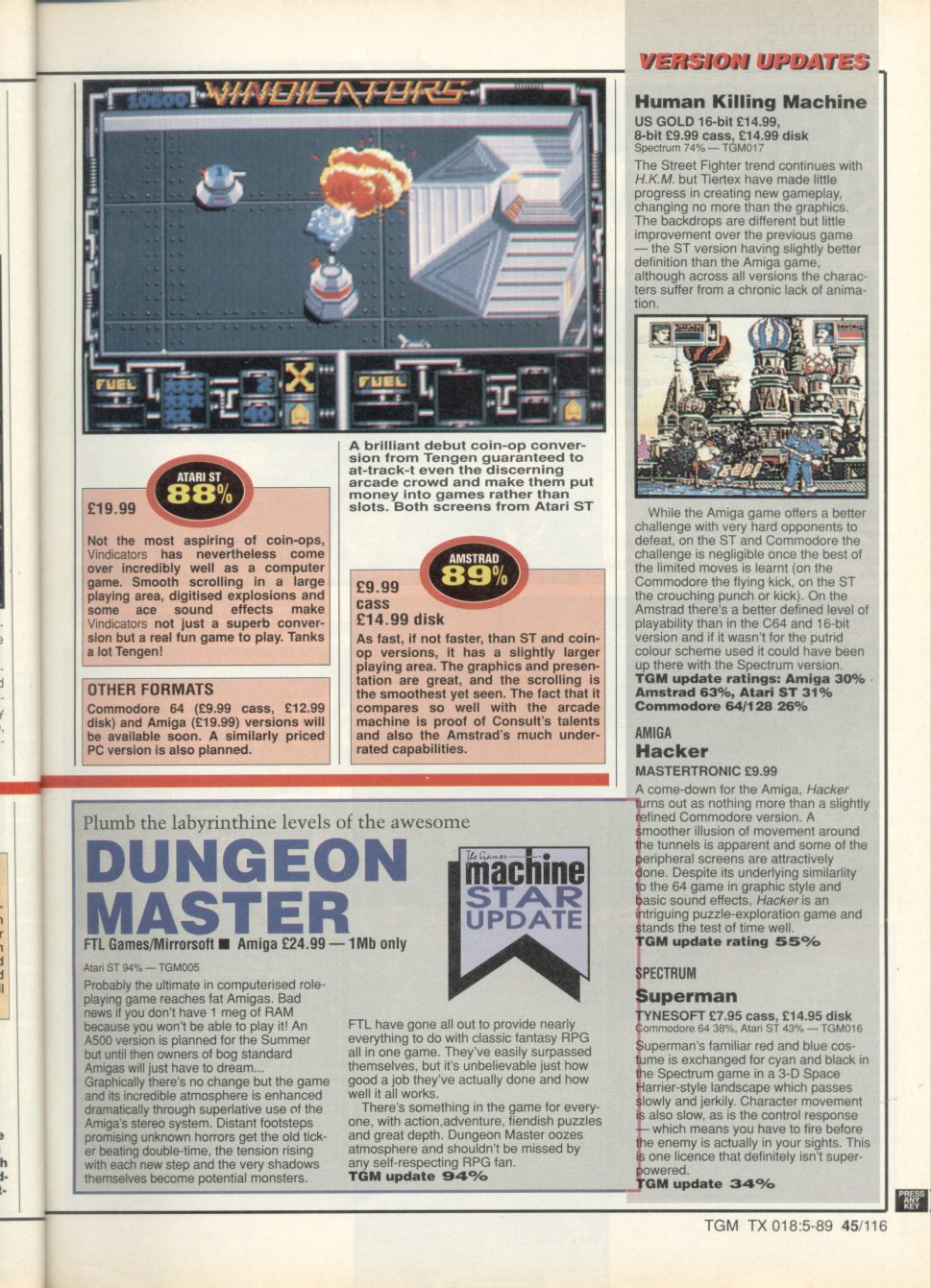 Dungeon Master for Amiga Review published in British magazine 'The Game Machine', Issue #18, May 1989, Page 45